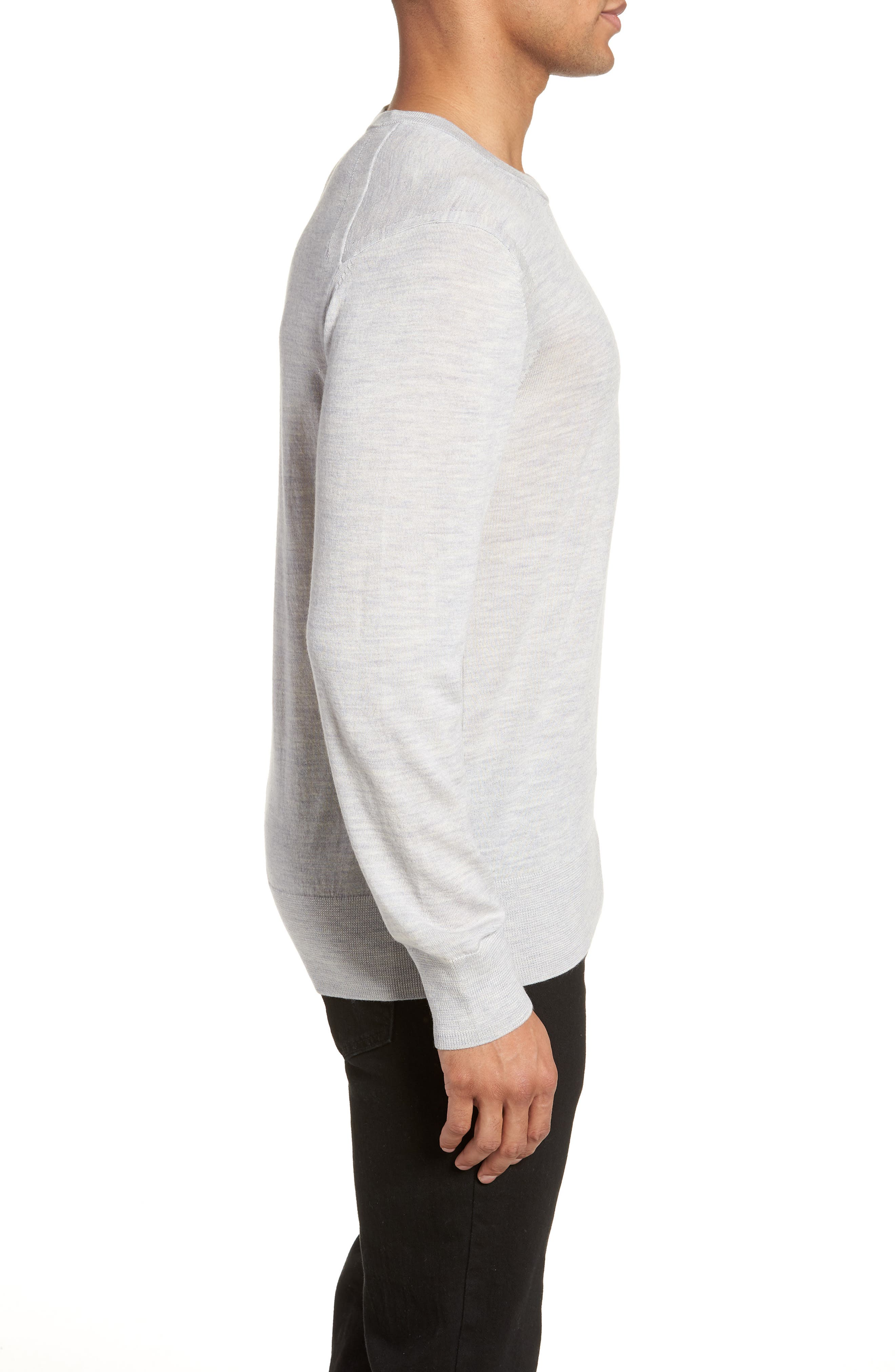 Lang Crewneck Wool Sweater,                             Alternate thumbnail 3, color,                             Light Grey Marl