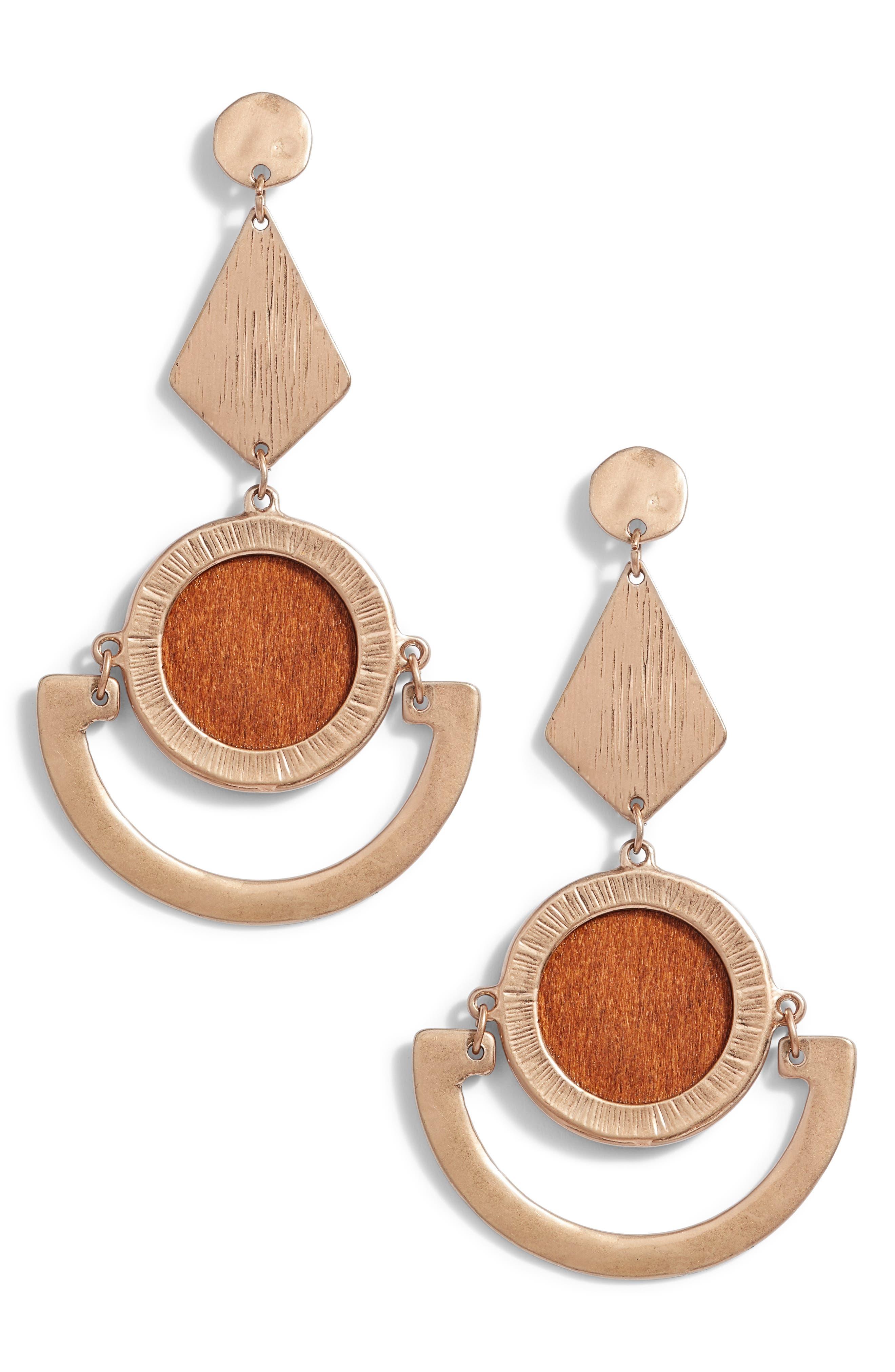 Leith Wood Inlay Drop Earrings
