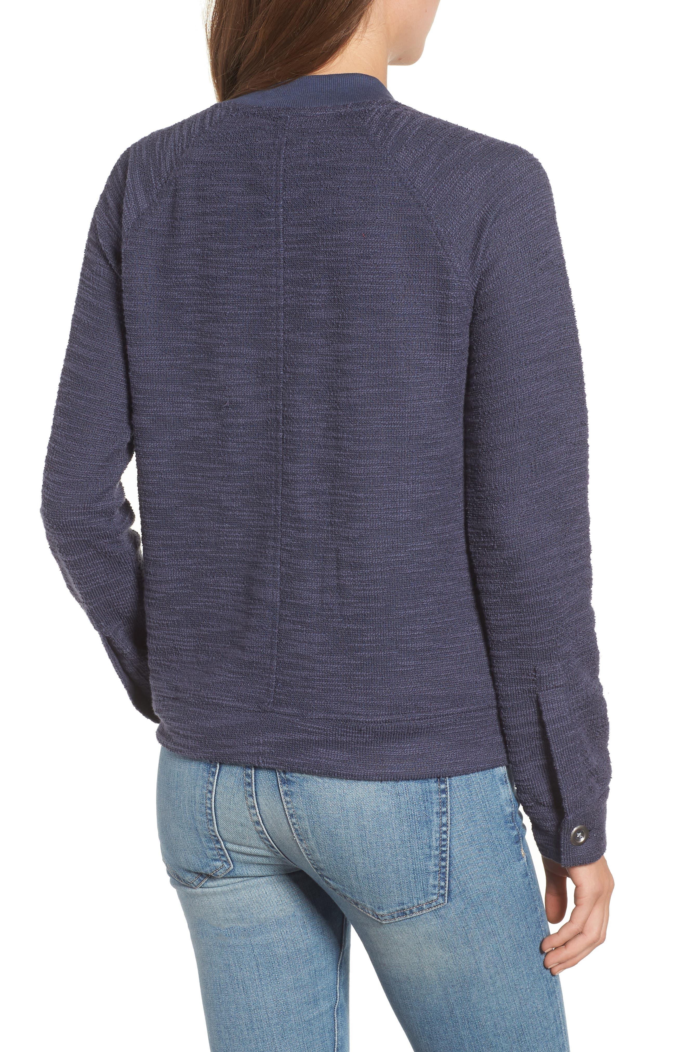 Knit Bomber Jacket,                             Alternate thumbnail 2, color,                             Navy Indigo