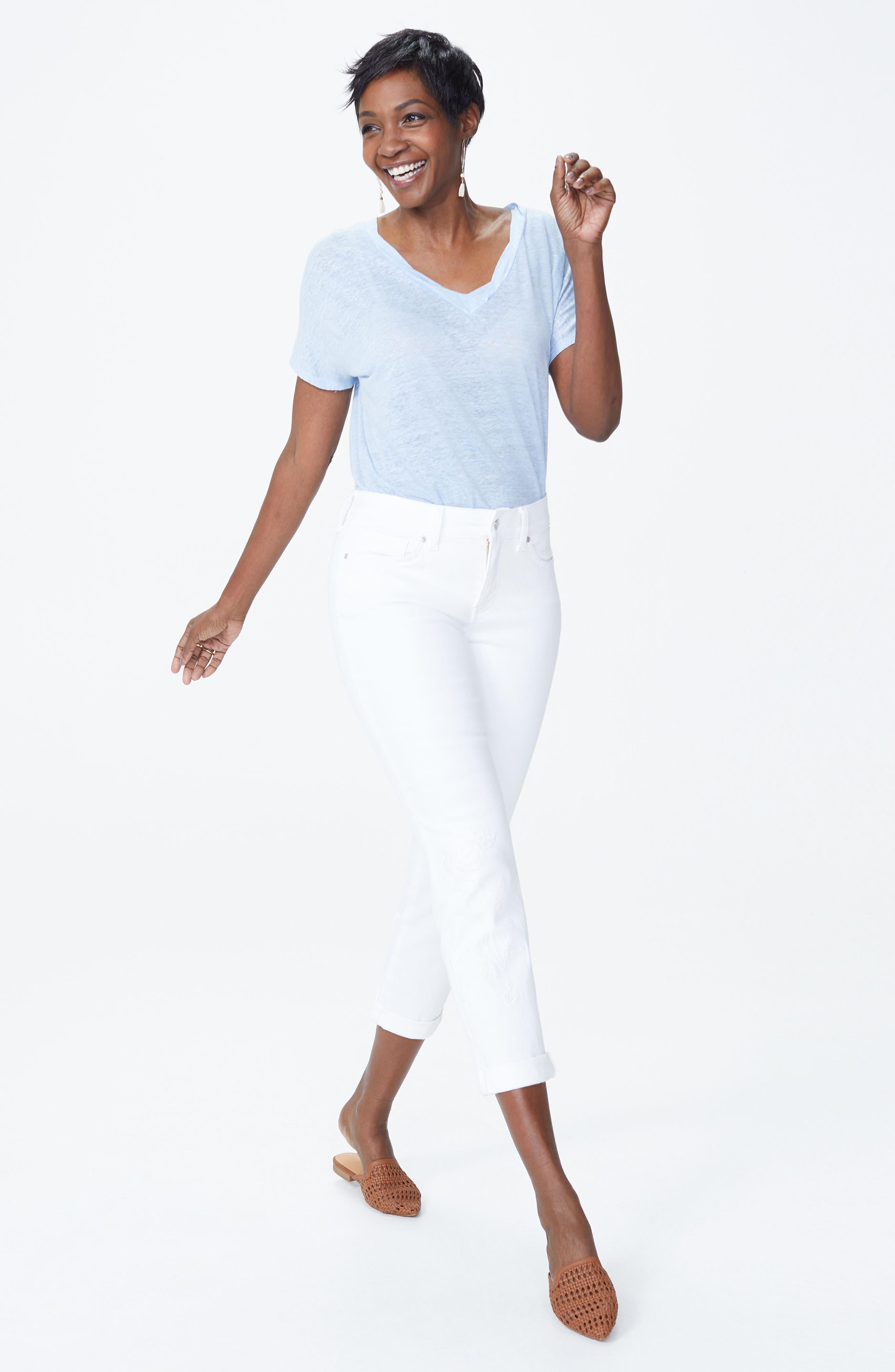 Puff Embroidery White Boyfriend Jeans,                             Alternate thumbnail 5, color,                             Optic White