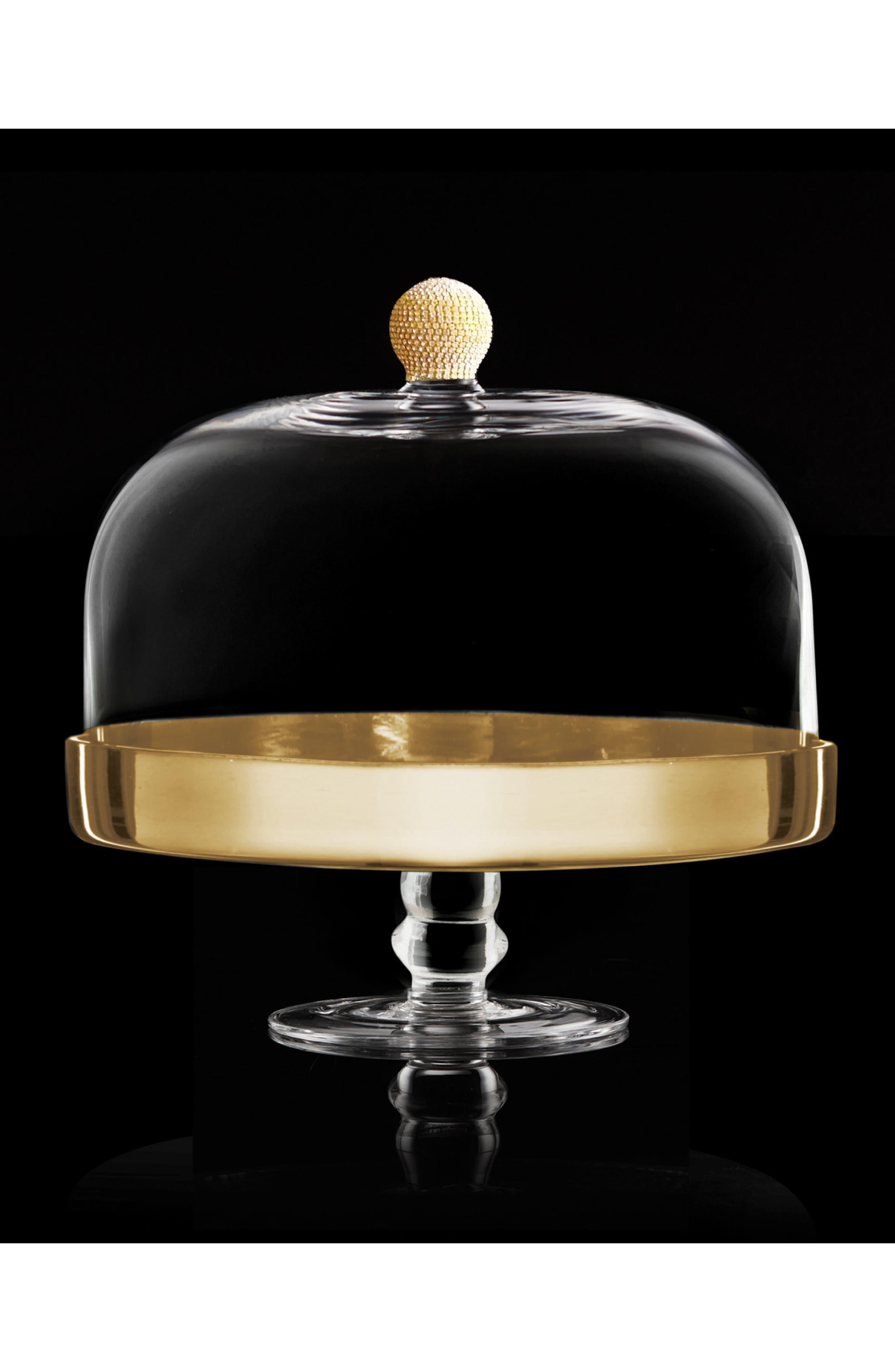 Gold Medley Pedestal Plate & Dome,                             Alternate thumbnail 2, color,                             Gold
