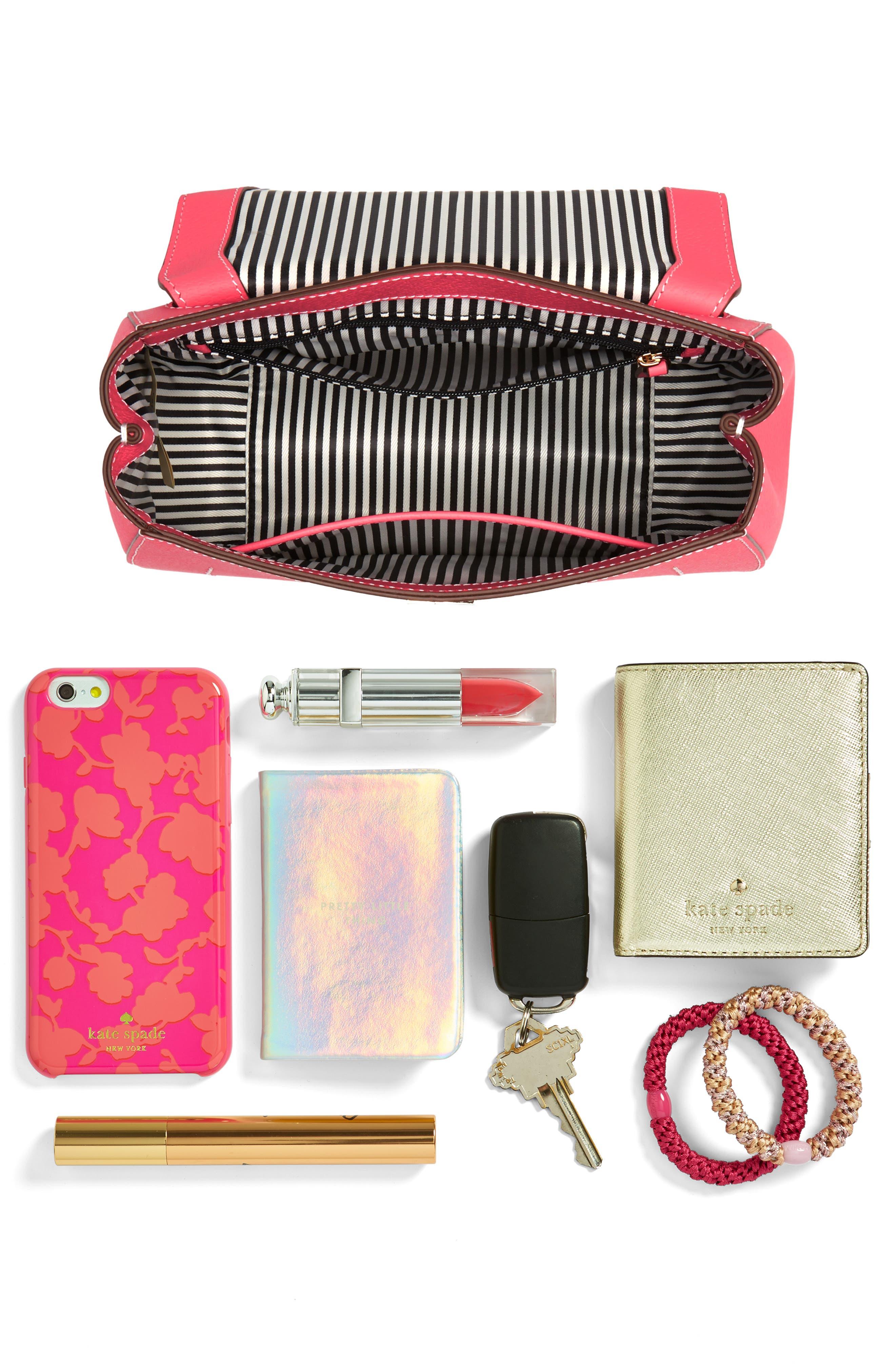 thompson street - justina leather satchel,                             Alternate thumbnail 7, color,