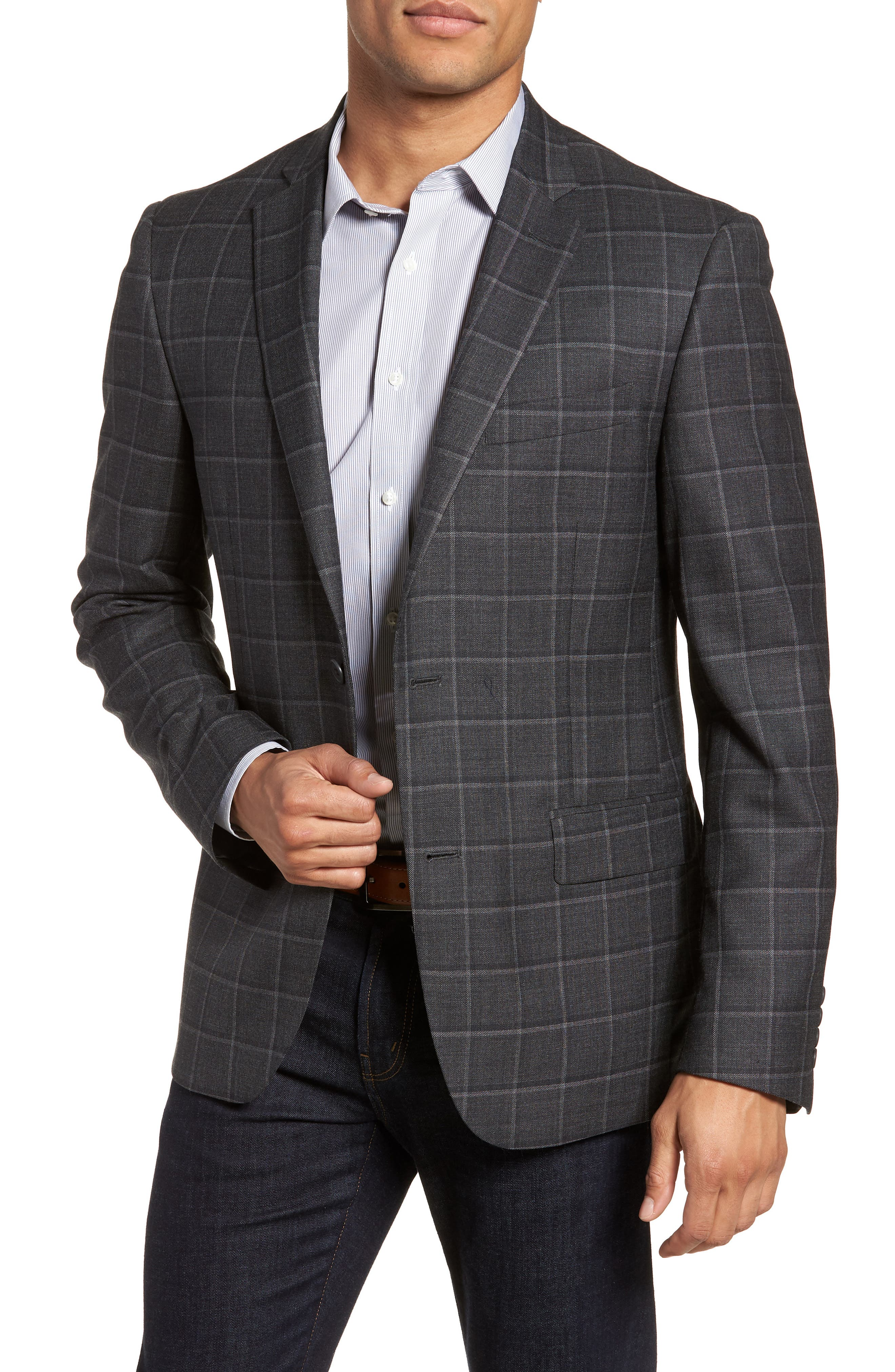 Nordstrom Men's Shop Trim Fit Windowpane Wool Sport Coat