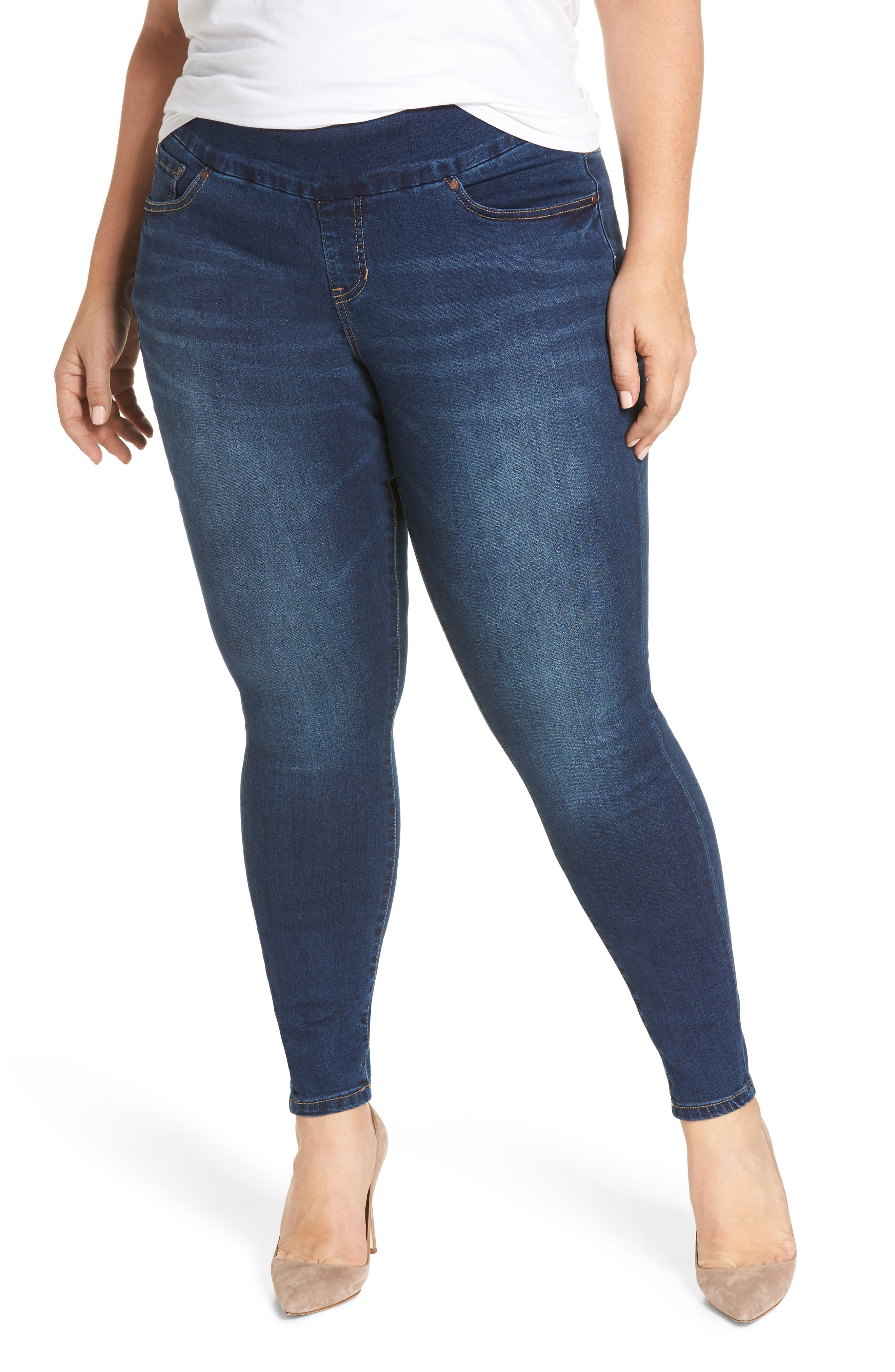 Nora Stretch Skinny Jeans,                             Main thumbnail 1, color,                             Med Indigo