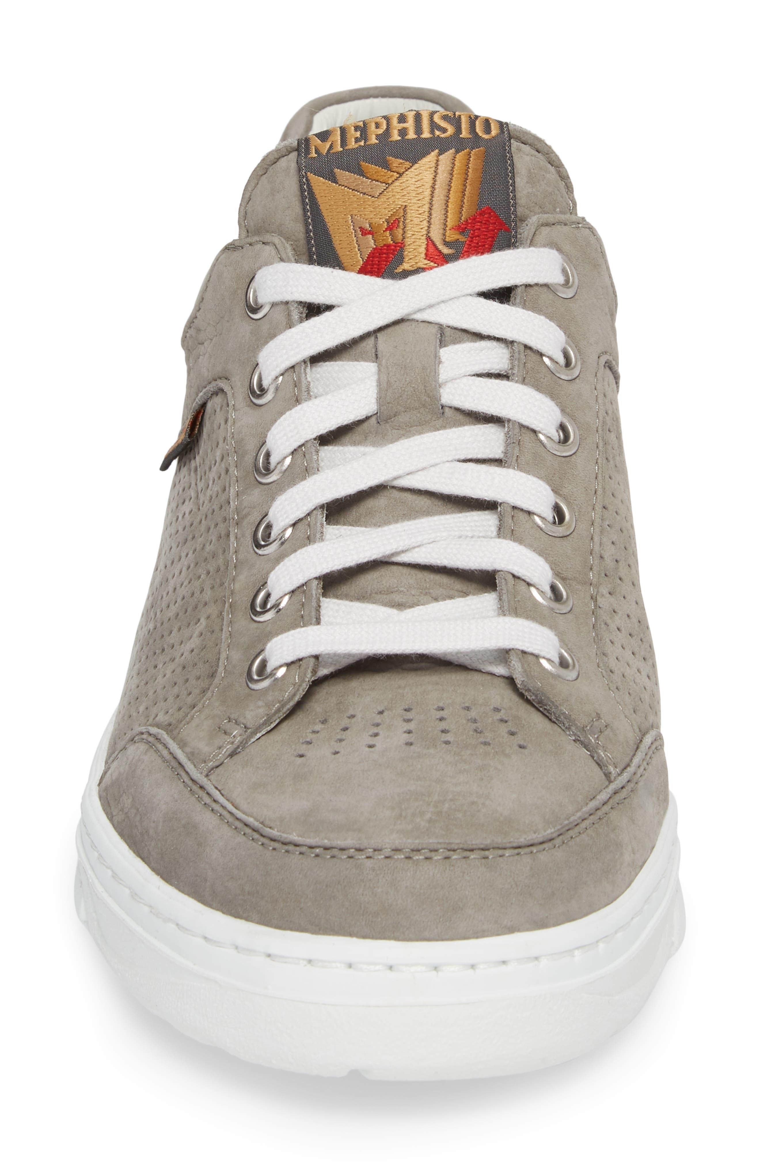 Mathias Perforated Sneaker,                             Alternate thumbnail 4, color,                             Light Grey