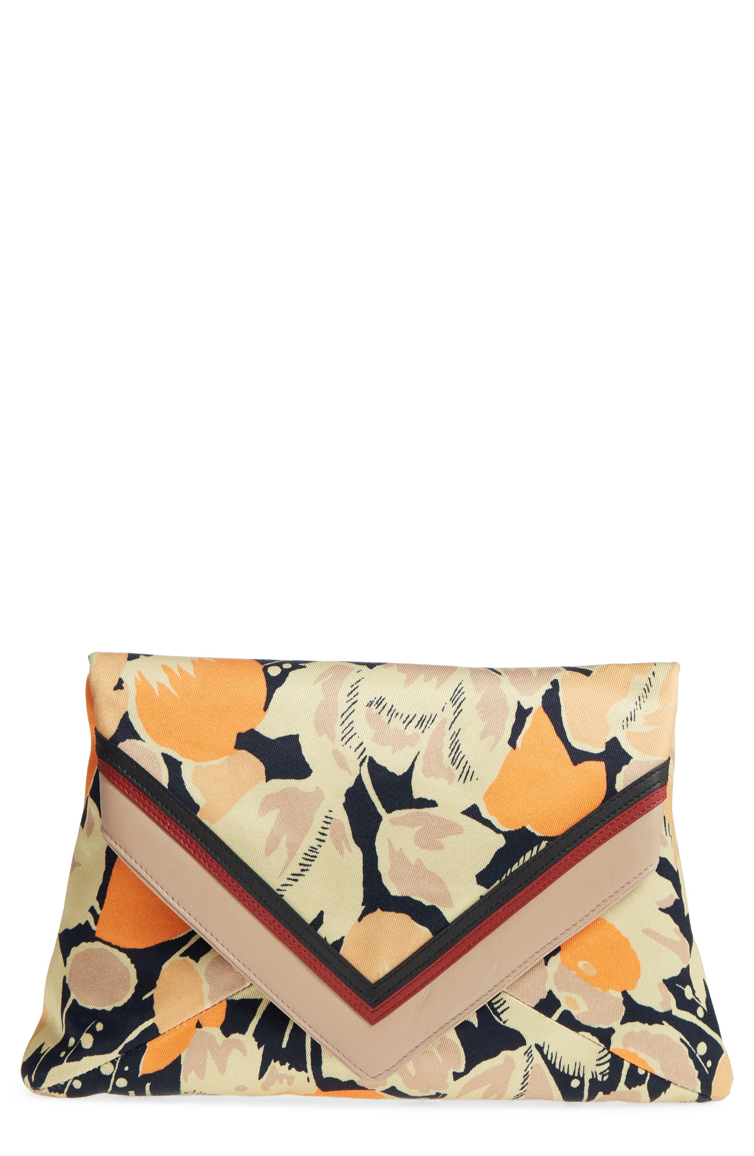 Floral Print Envelope Clutch,                             Main thumbnail 1, color,                             Orange