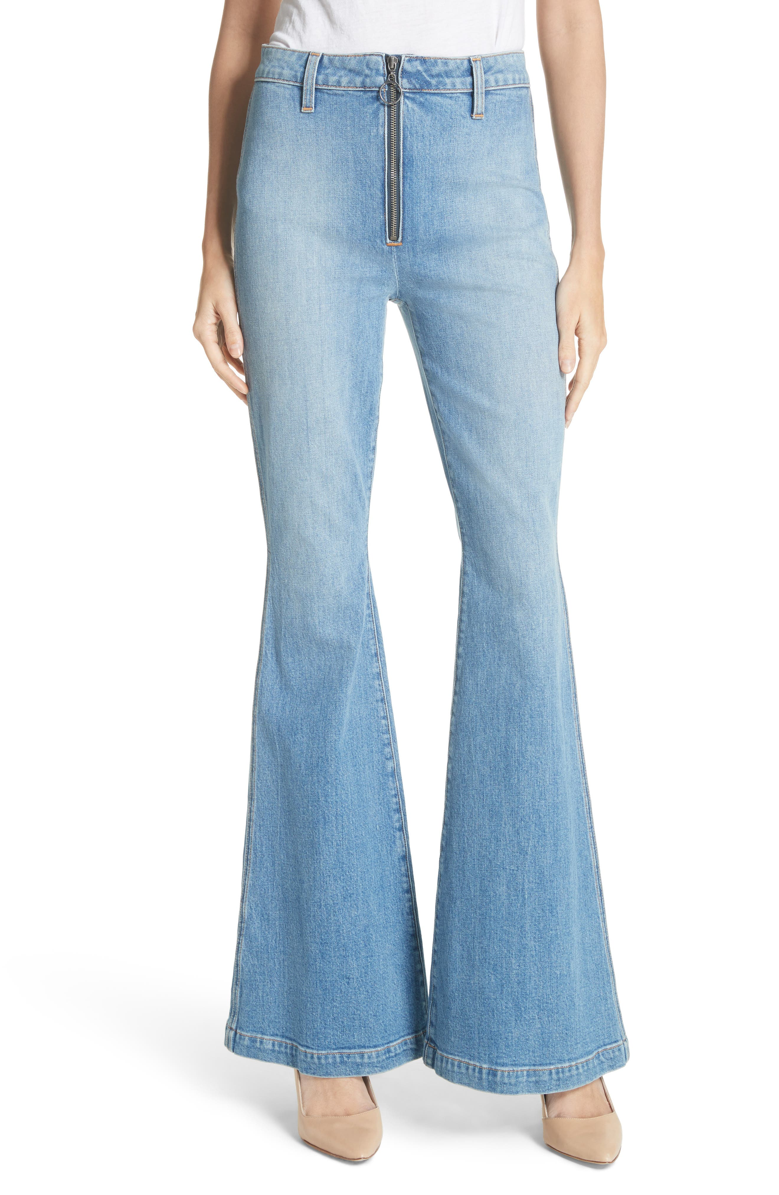 AO.LA Beautiful Exposed Zip Bell Bottom Jeans,                         Main,                         color, Sweet Emotion