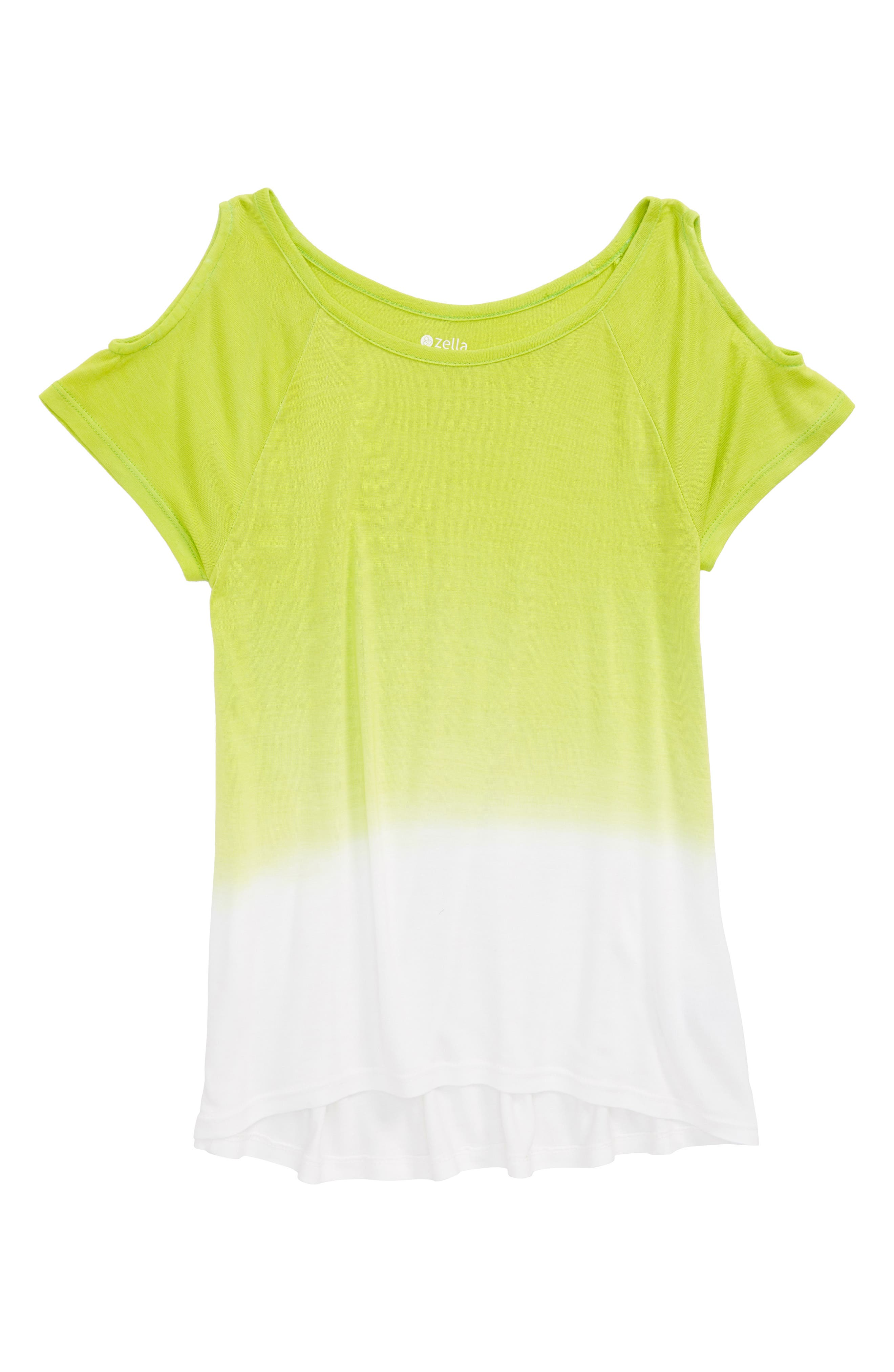 Dip Dye Cold Shoulder Tee,                             Main thumbnail 1, color,                             Green Sulphur- White Ombre