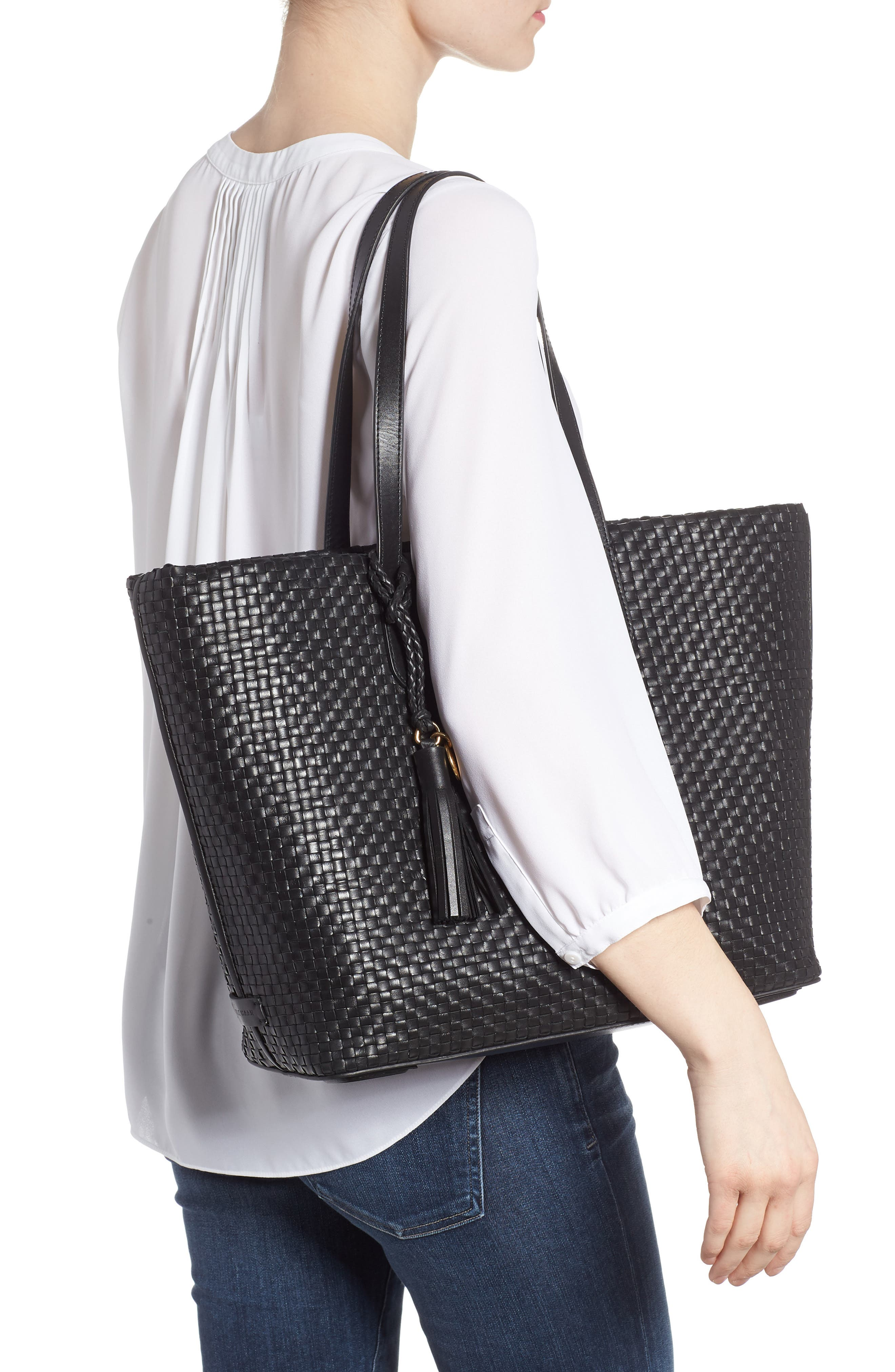 Payson RFID Woven Leather Tote,                             Alternate thumbnail 2, color,                             Black