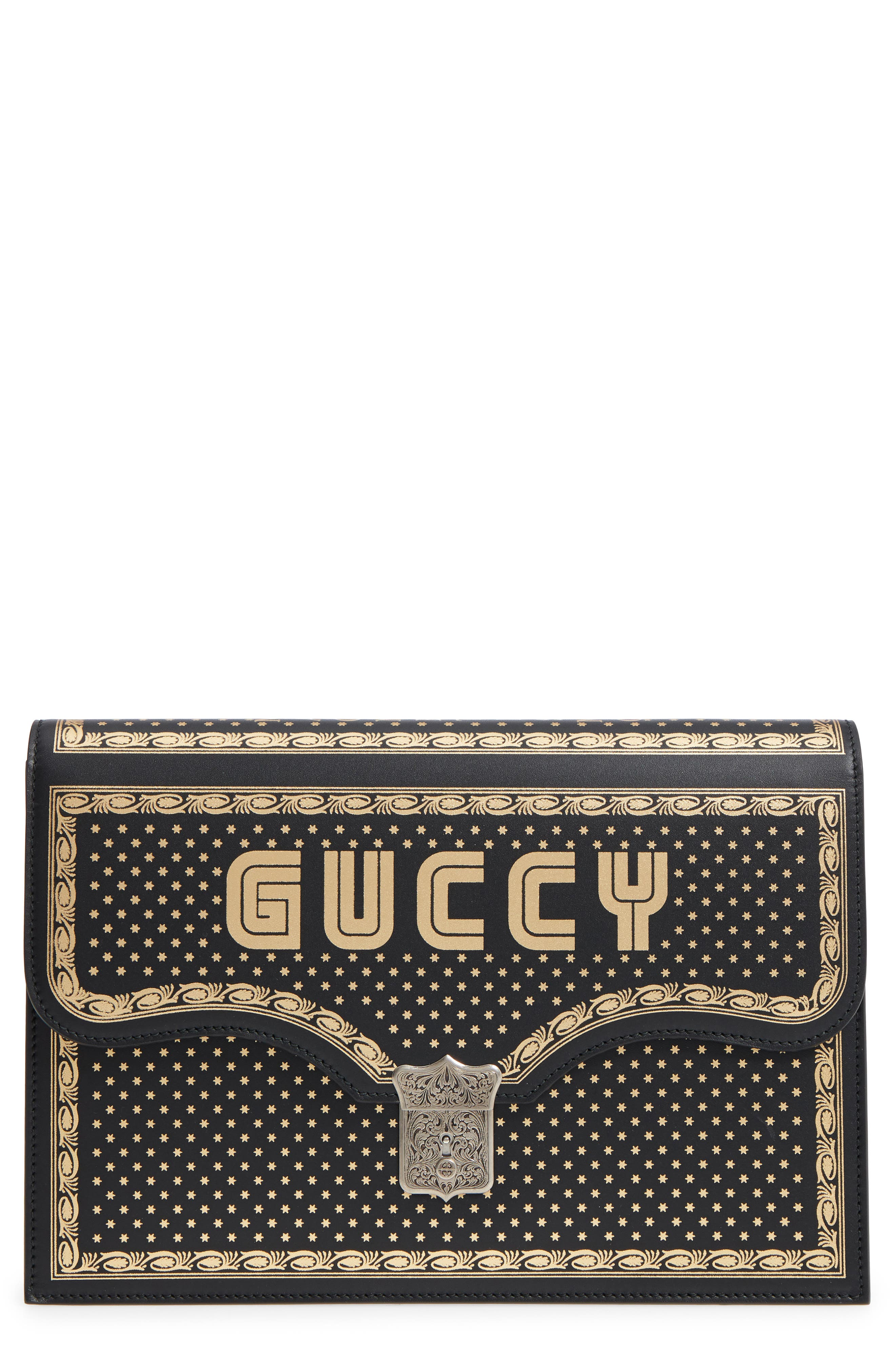 Guccy Logo Moon & Stars Envelope Clutch,                             Main thumbnail 1, color,                             Nero/ Oro