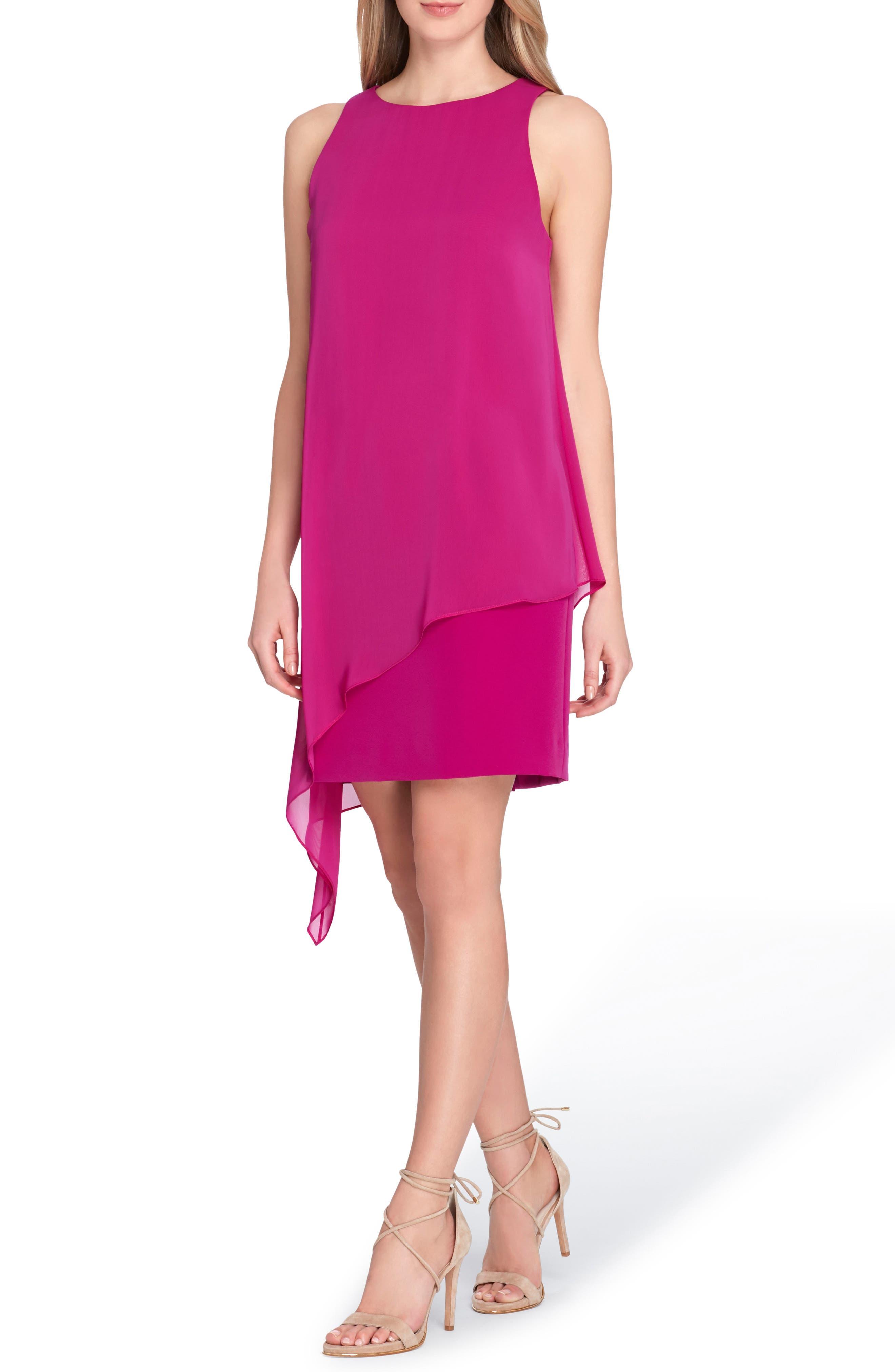 Sleeveless Overlay Crepe Sheath Dress,                             Main thumbnail 1, color,                             Summer Fuchsia