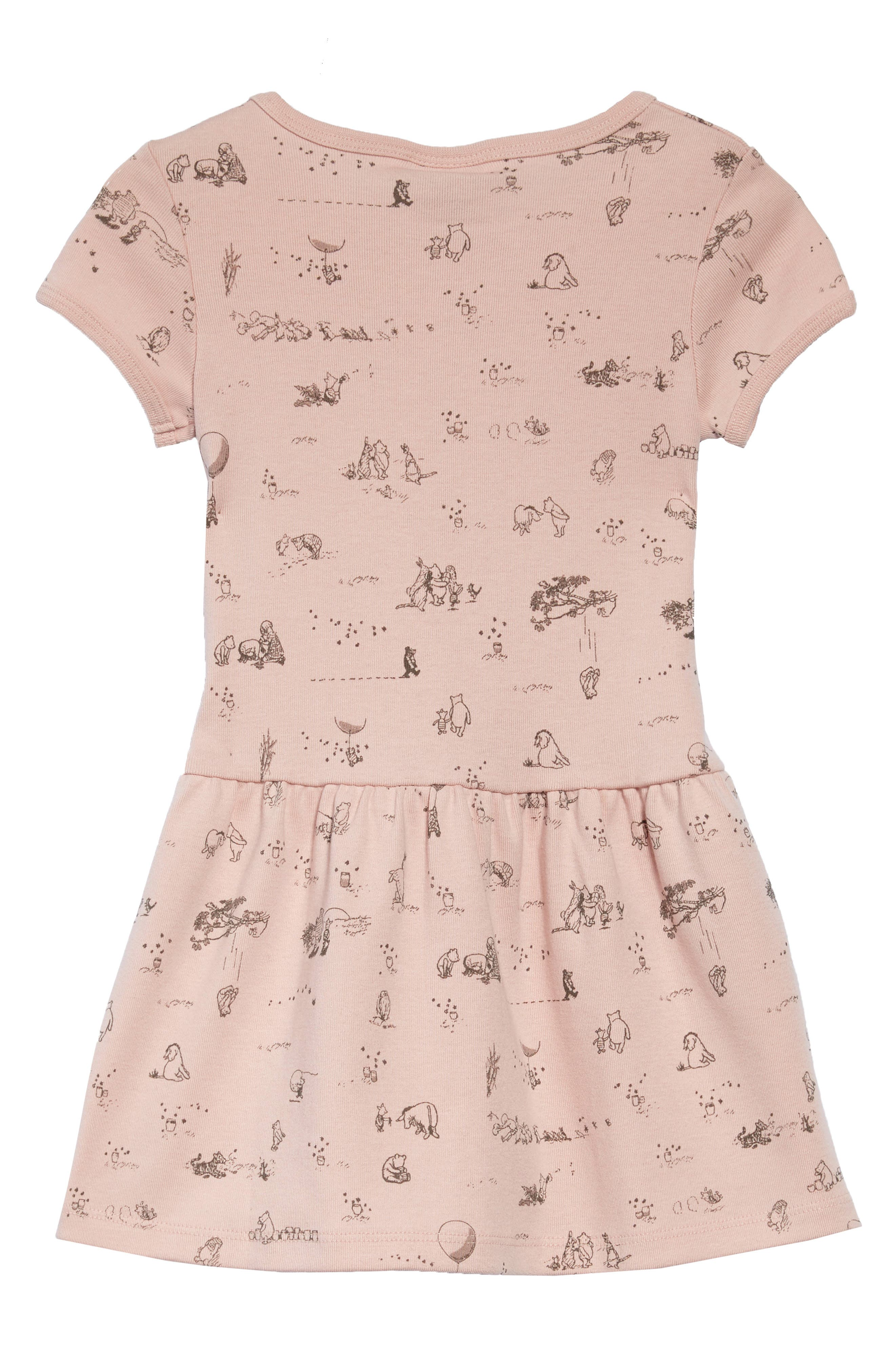 x Disney<sup>®</sup> Winnie the Pooh Print Dress,                             Alternate thumbnail 2, color,                             Powder