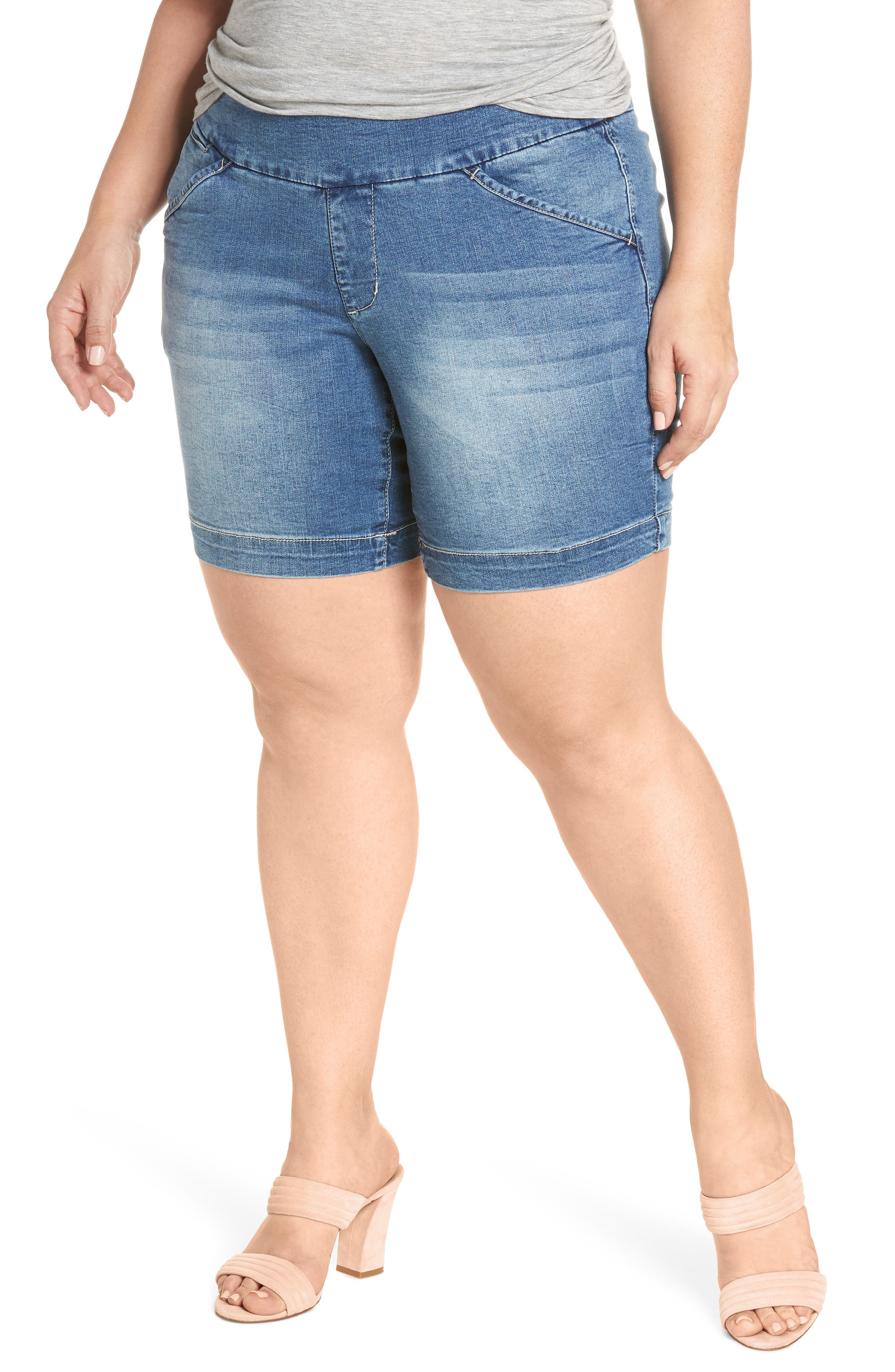 Ainsley Pull-On Stretch Denim Shorts,                         Main,                         color, Med Indigo