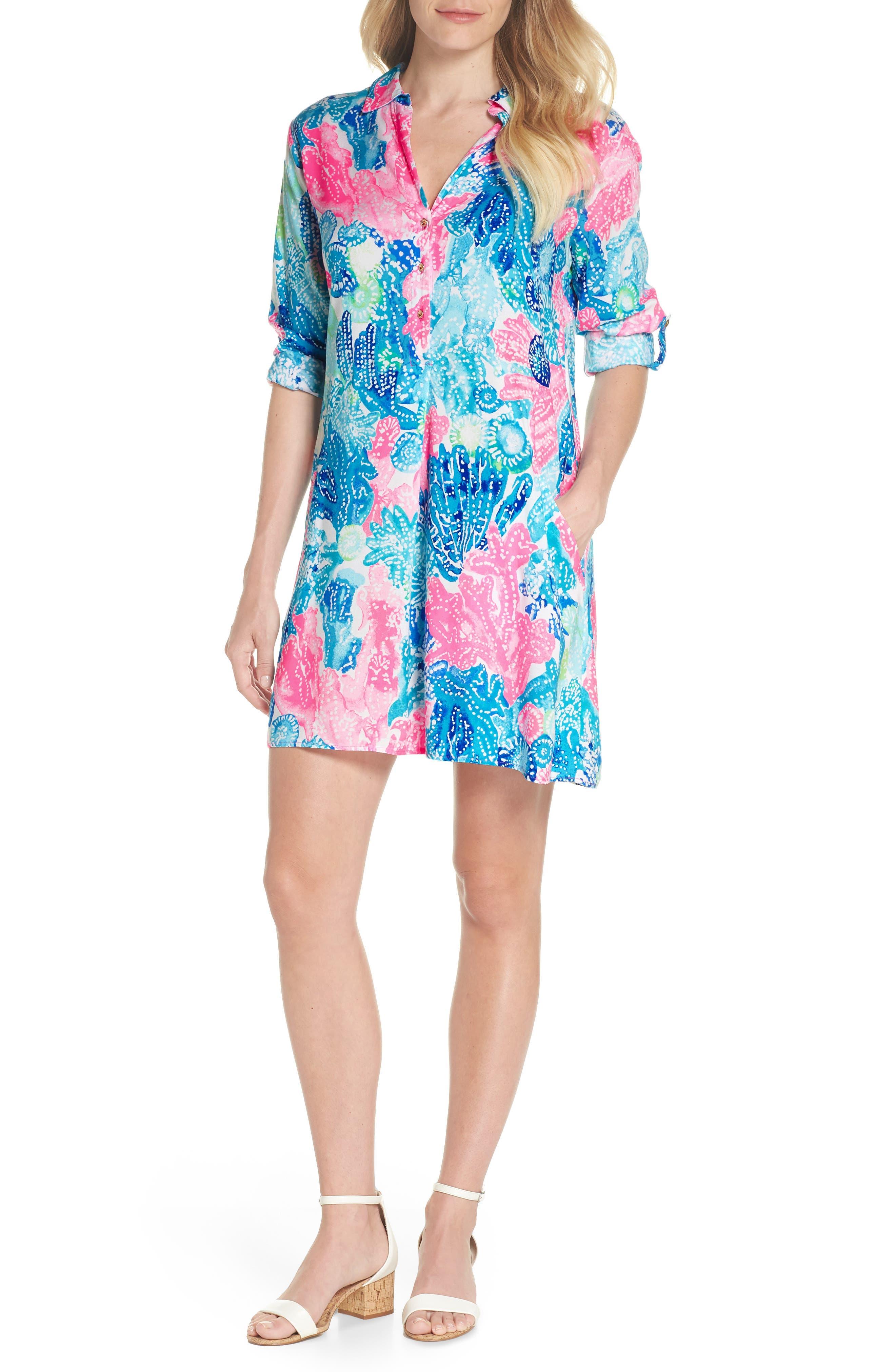 Lillith Shirtdress,                         Main,                         color, Multi Boho Batik