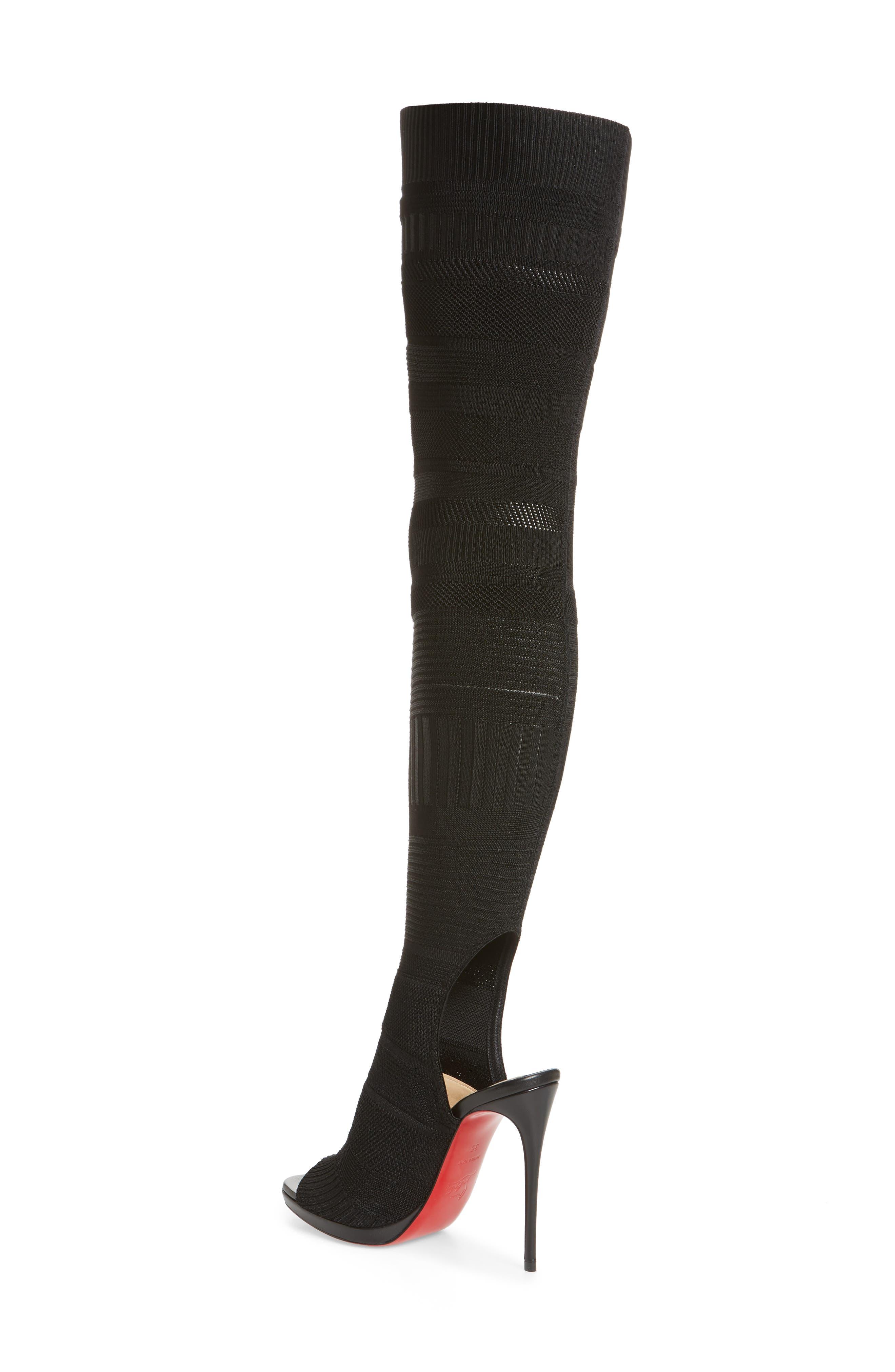 Cheminetta Over the Knee Sock Sandal,                             Alternate thumbnail 2, color,                             Black