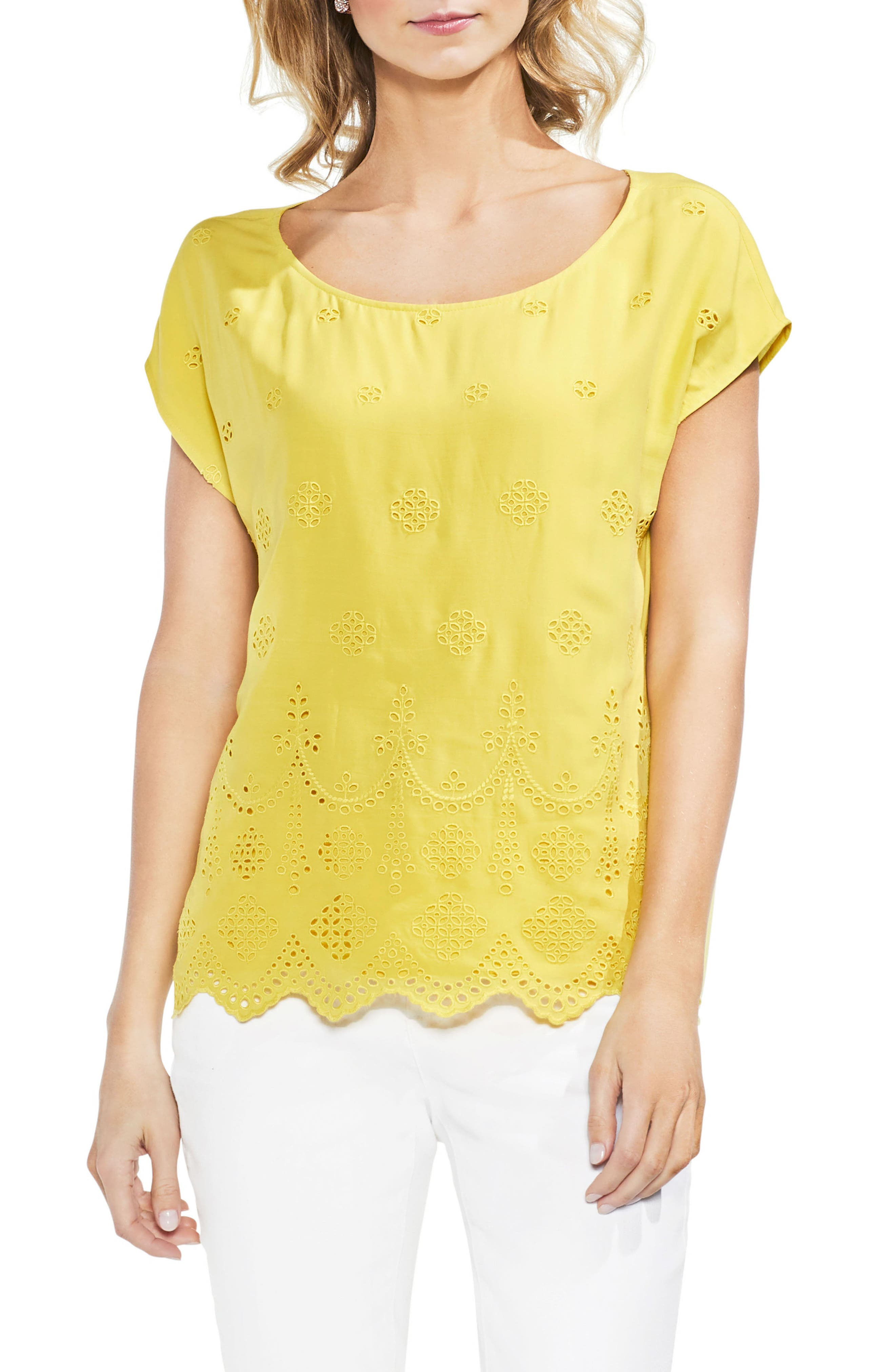 Scalloped Eyelet Top,                         Main,                         color, Pineapple