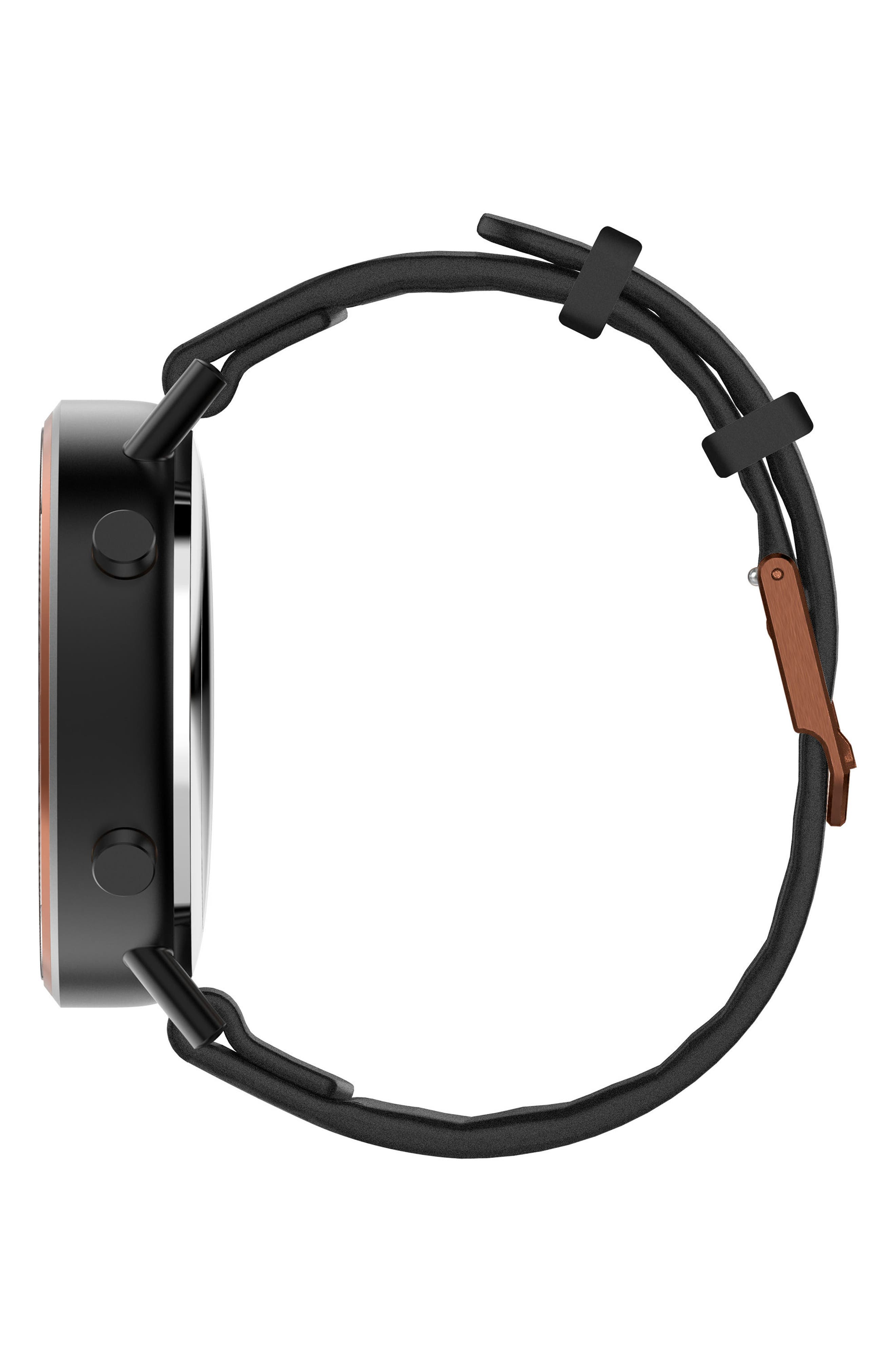 Command Hybrid Silicone Strap Smart Watch, 44mm,                             Alternate thumbnail 4, color,                             Black/ Rose Gold
