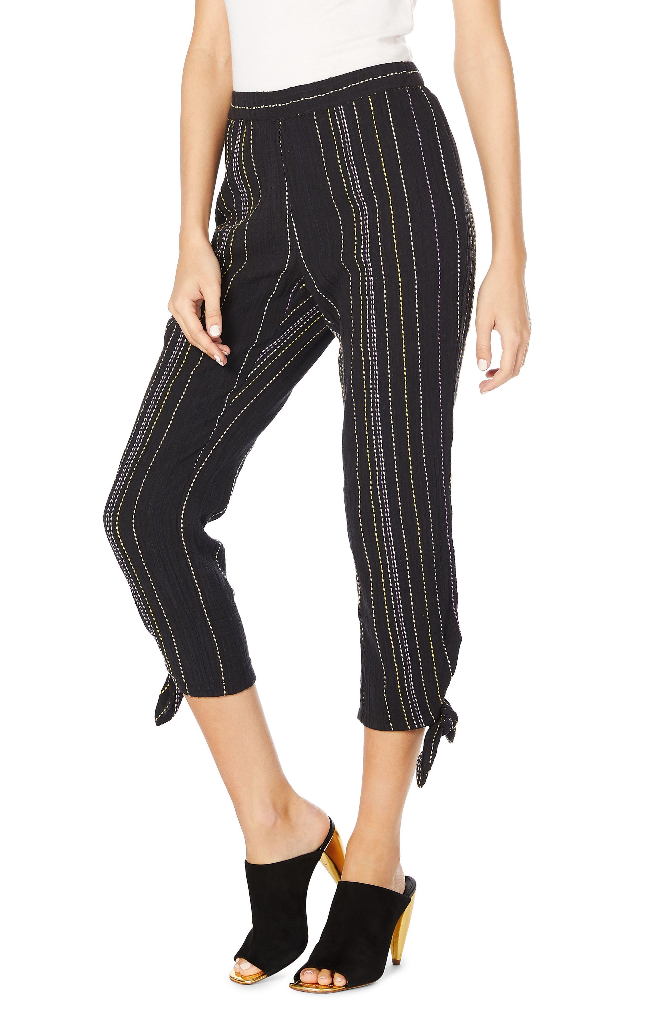 Beach Stripe Capri Pants,                             Alternate thumbnail 3, color,                             Black