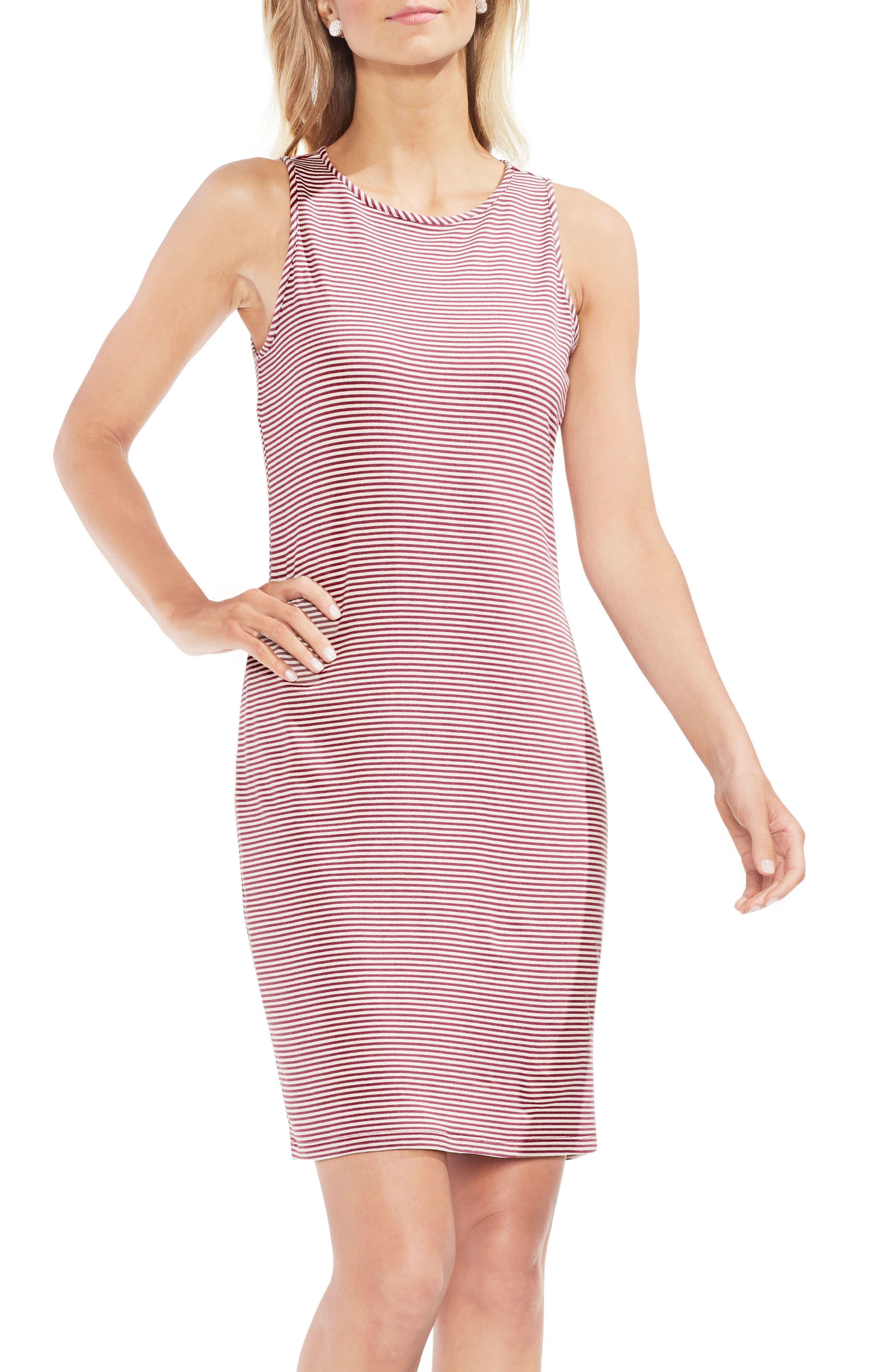 Chantelle Pinstripe Body-Con Dress,                             Main thumbnail 1, color,                             Summer Rose