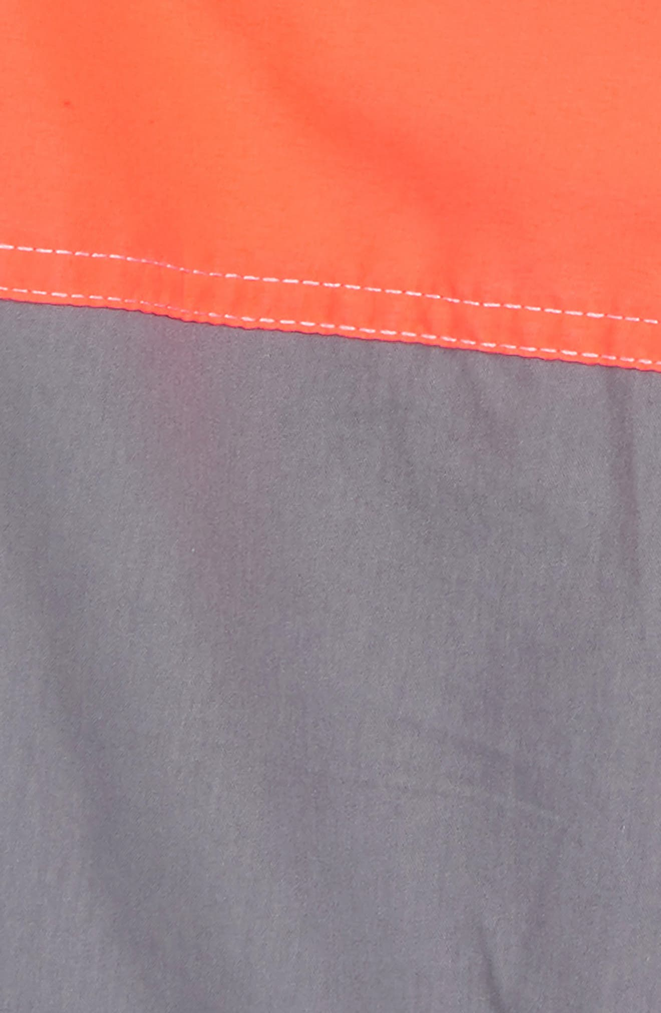Poolside Swim Trunks,                             Alternate thumbnail 2, color,                             Raft Grey/ Fiery Coral Red