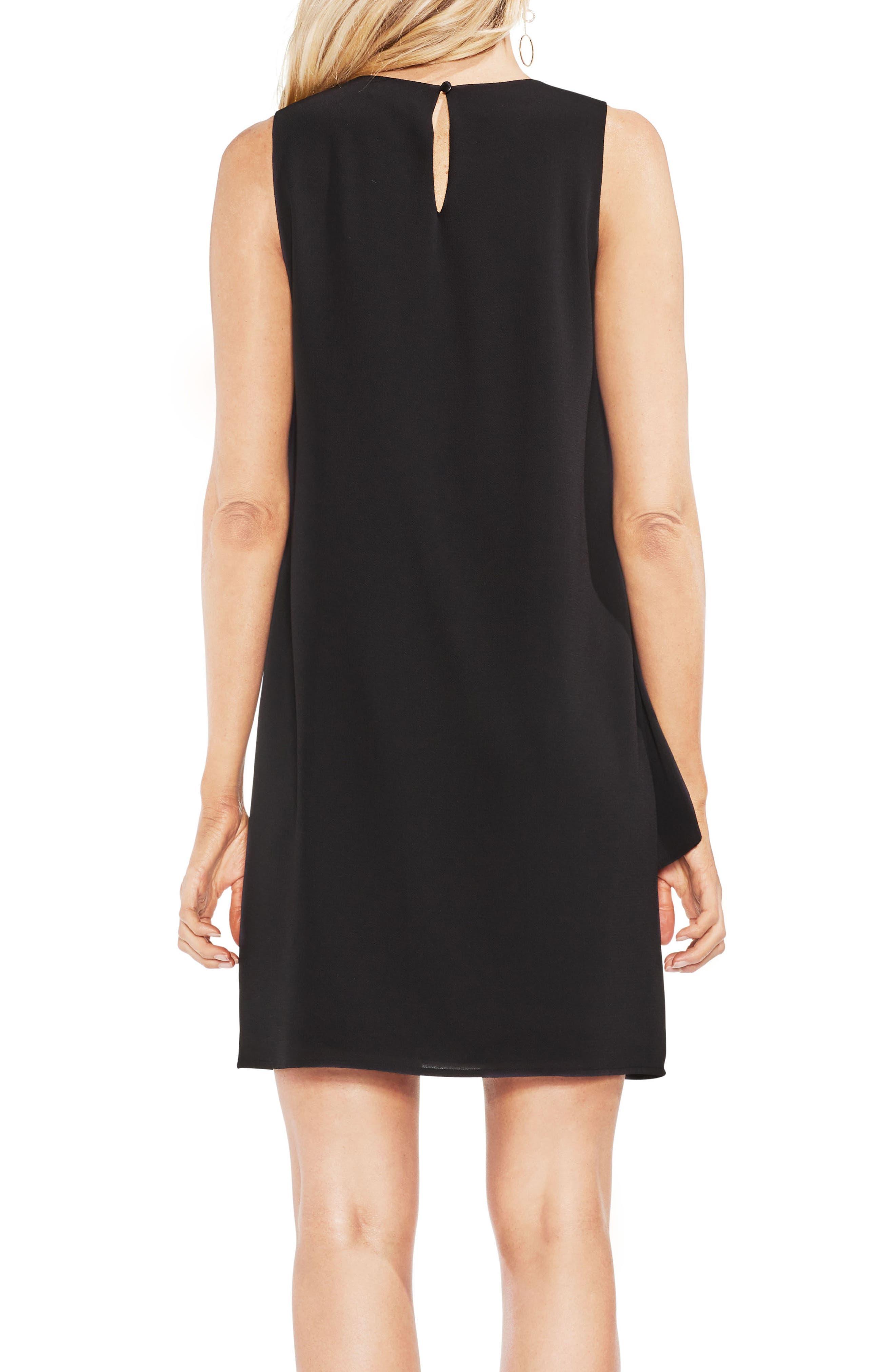 Asymmetrical Tiered Shift Dress,                             Alternate thumbnail 2, color,                             060-Rich Black