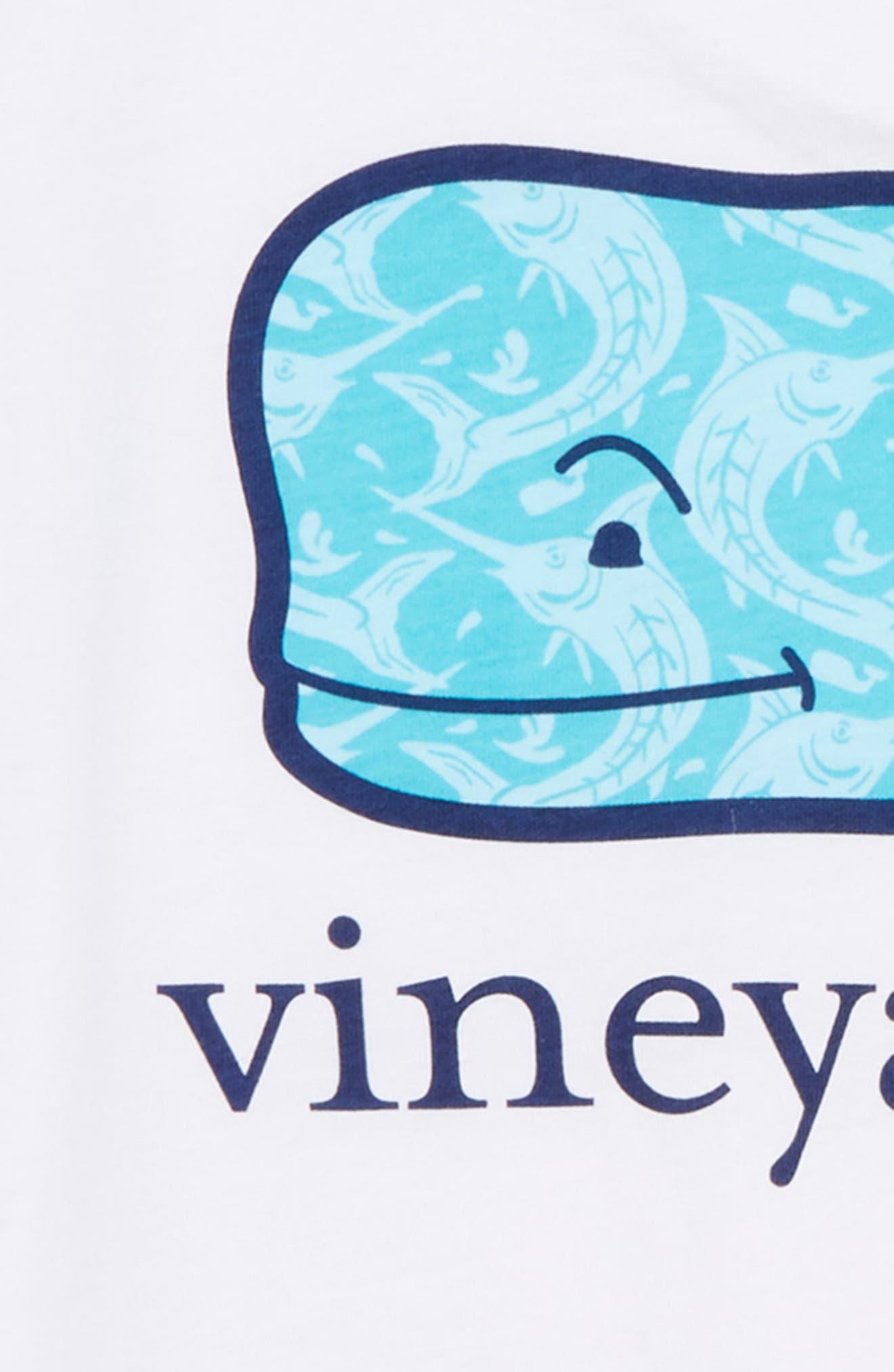 Marlin Whale Graphic T-Shirt,                             Alternate thumbnail 3, color,                             White Cap