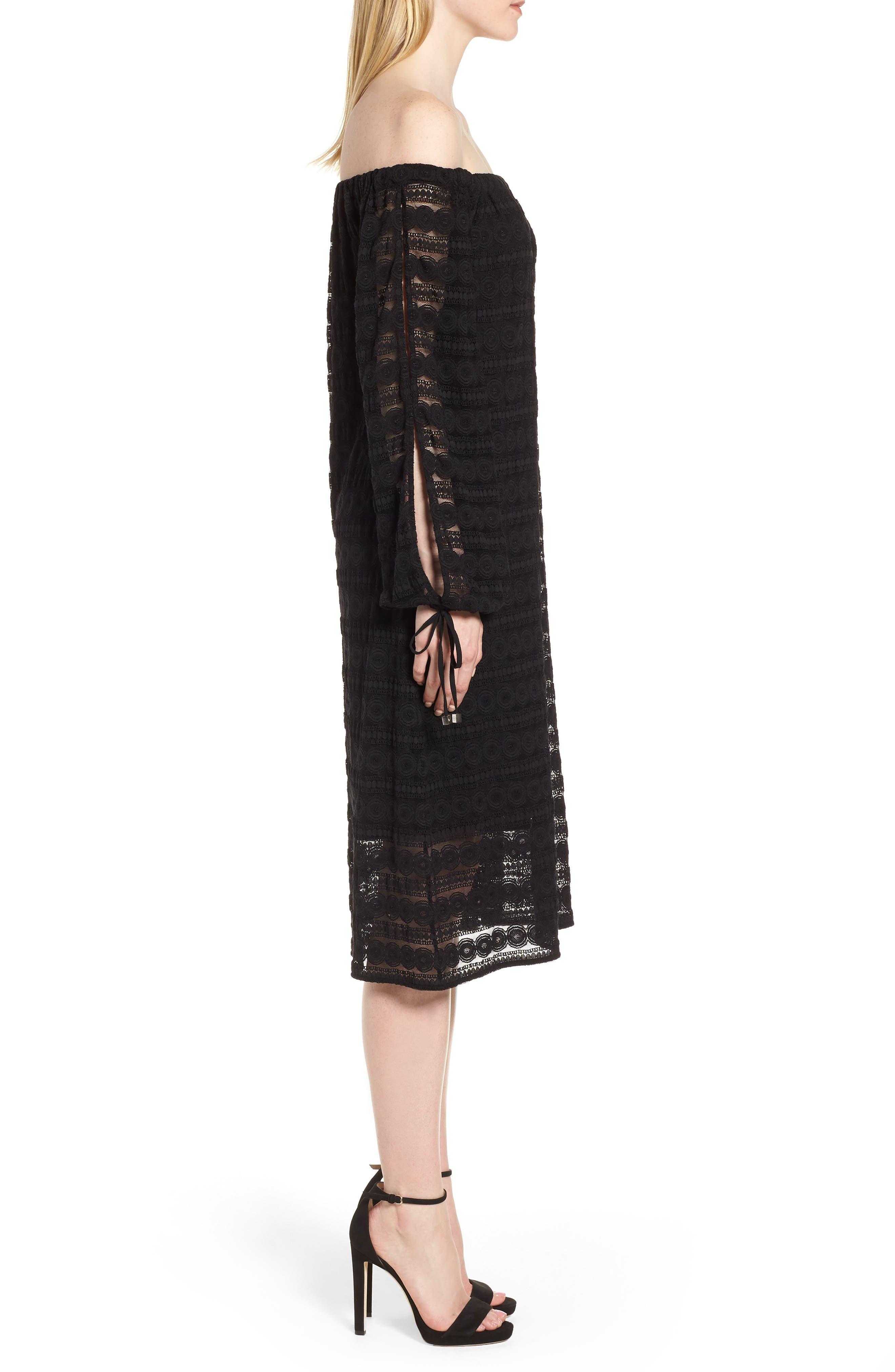 Circle Medallion Lace Off the Shoulder Dress,                             Alternate thumbnail 3, color,                             Black