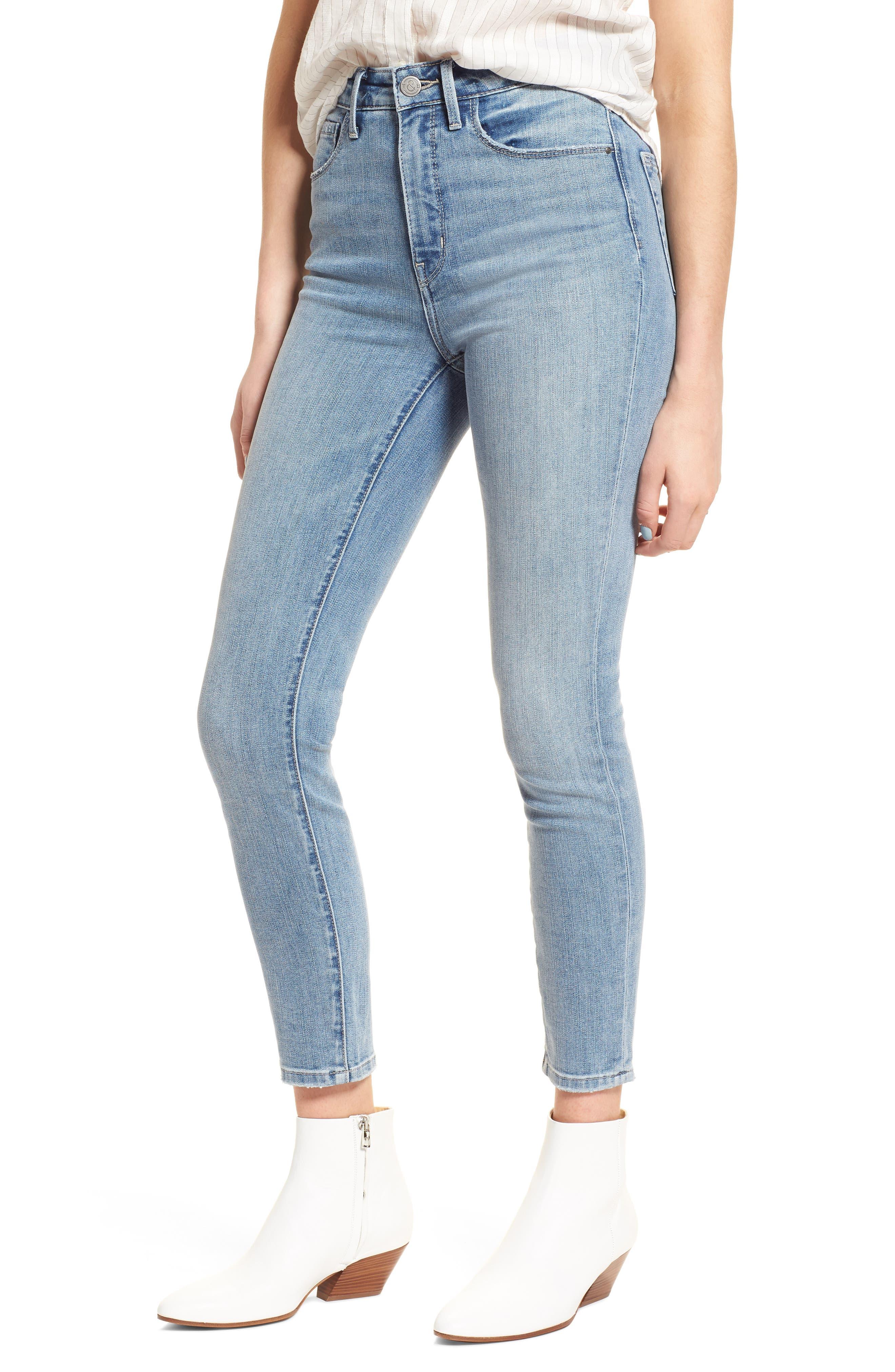 Main Image - Treasure & Bond Charity High Waist Crop Skinny Jeans (Rain Extra Light Worn)