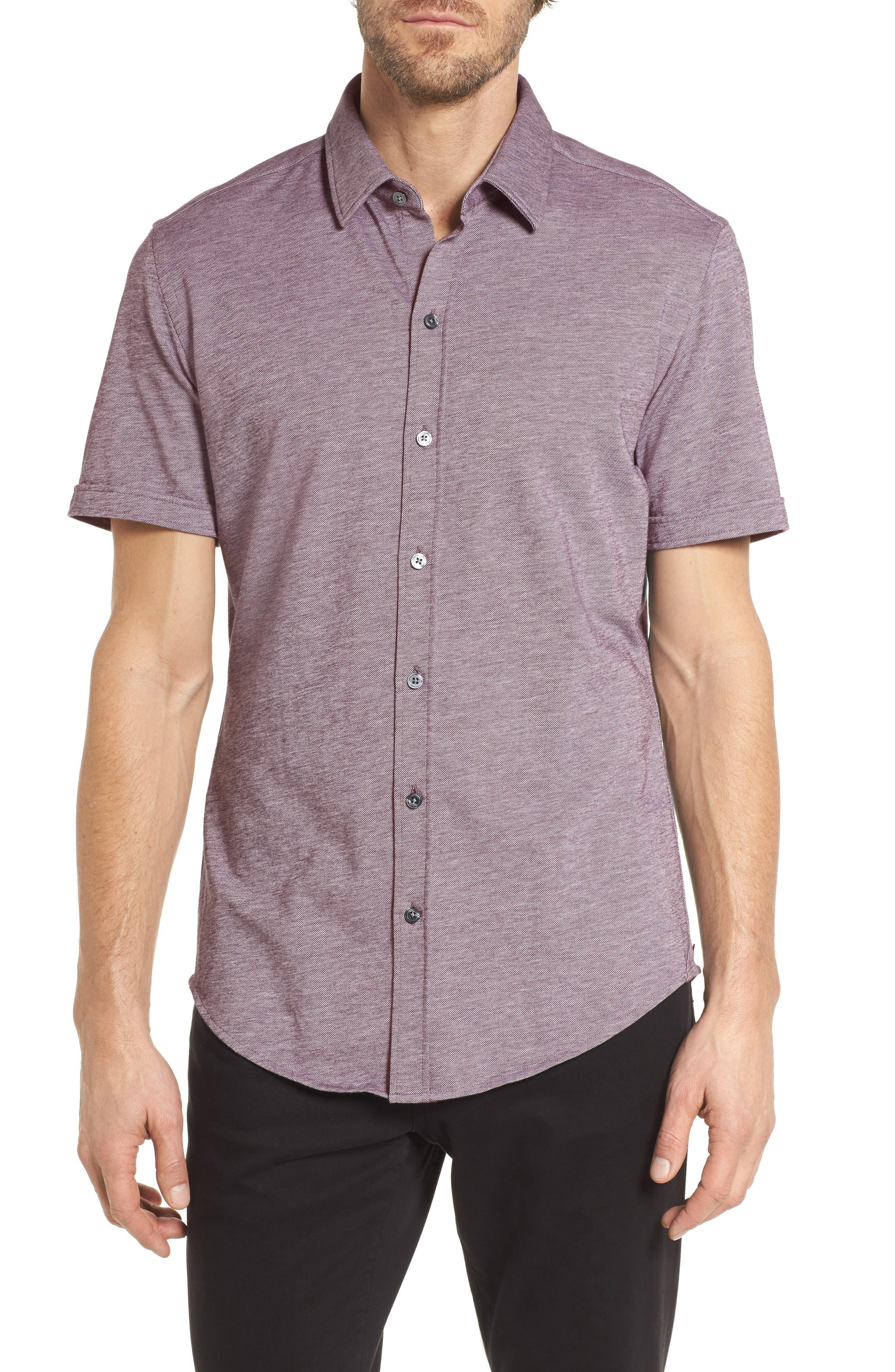 BOSS Robb Slim Fit Short Sleeve Sport Shirt