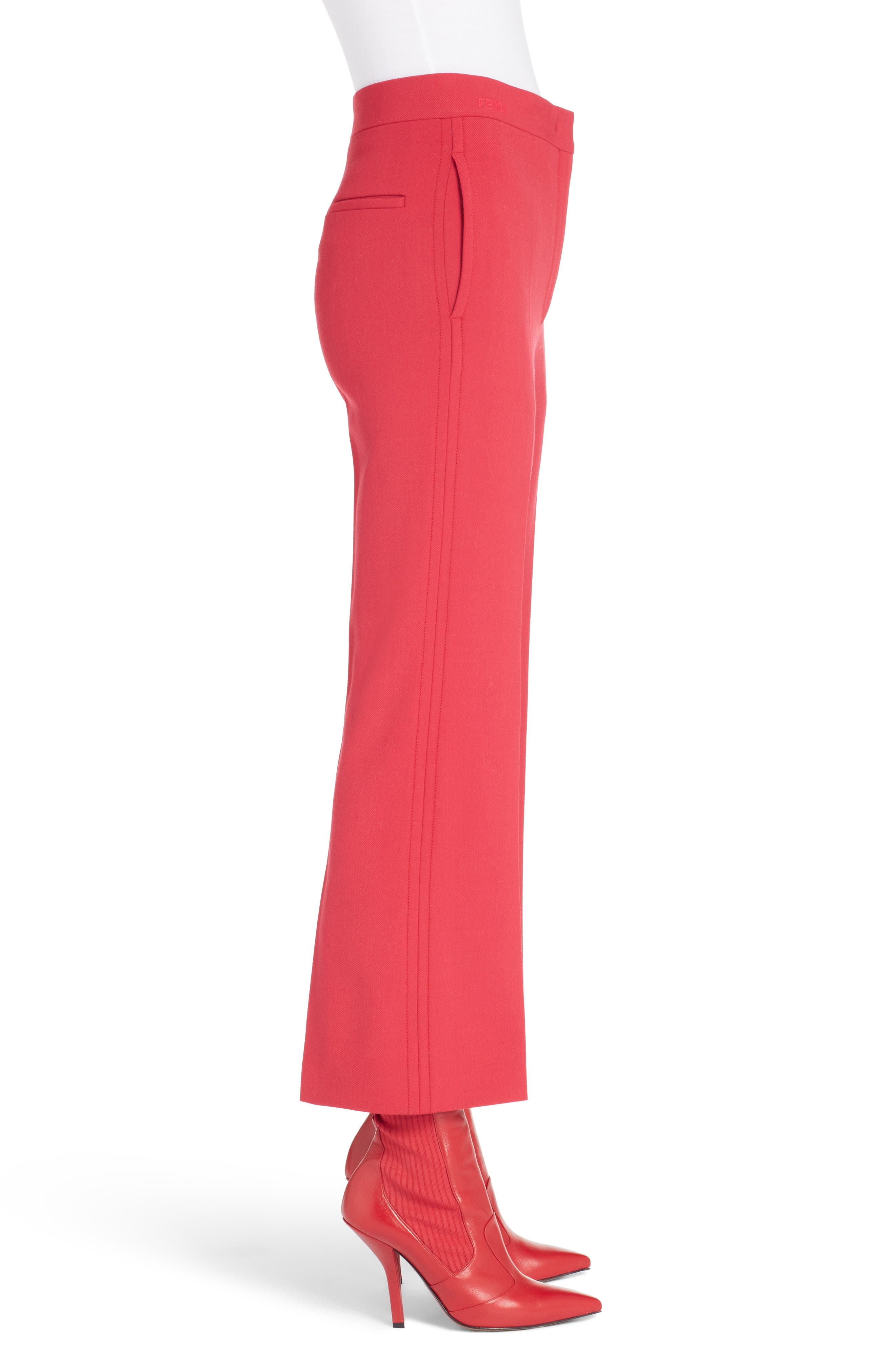 Stretch Drill Crop Flare Pants,                             Alternate thumbnail 3, color,                             Red