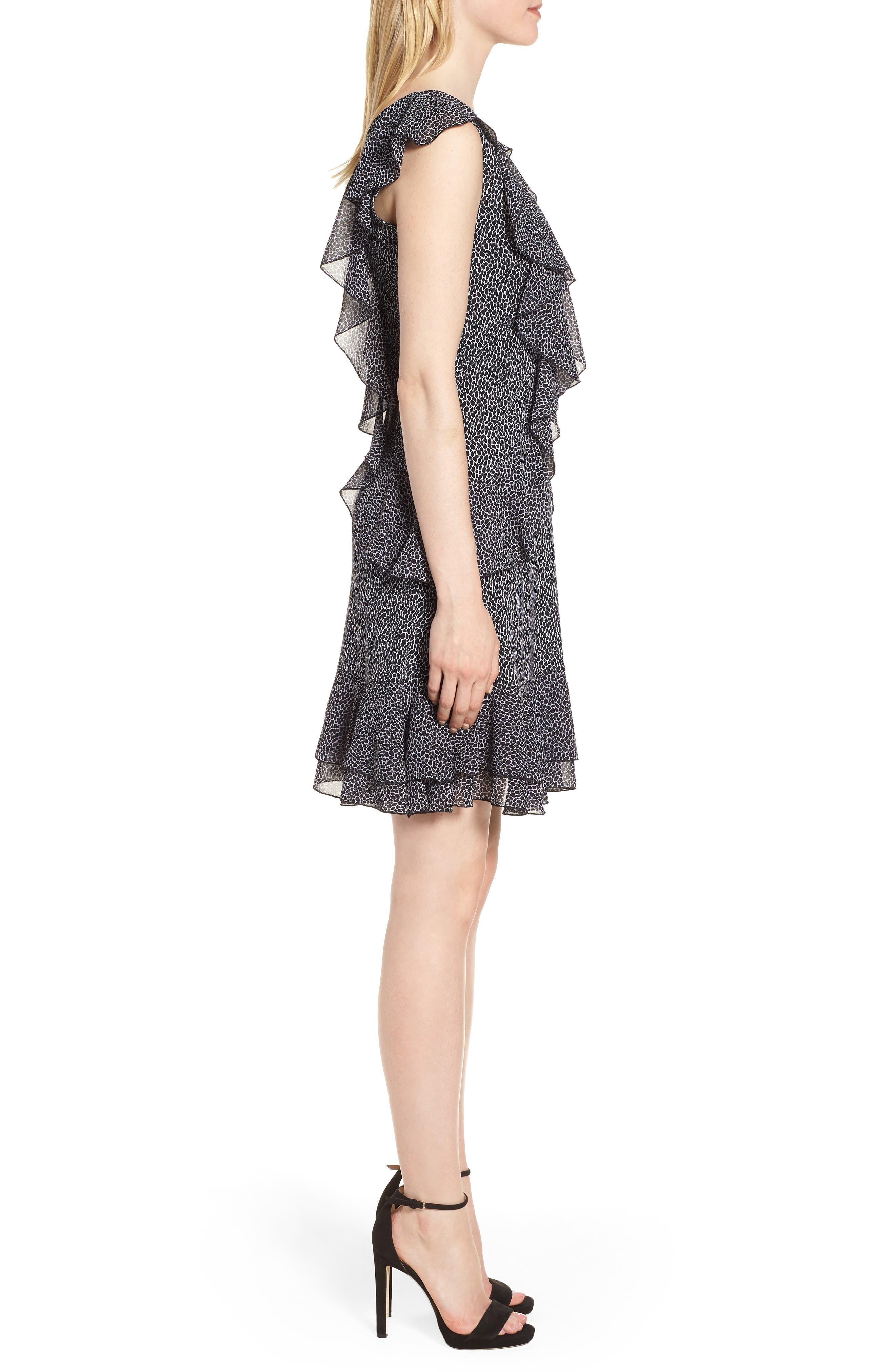 Leopard Cascade Mini Dress,                             Alternate thumbnail 3, color,                             White/ Black