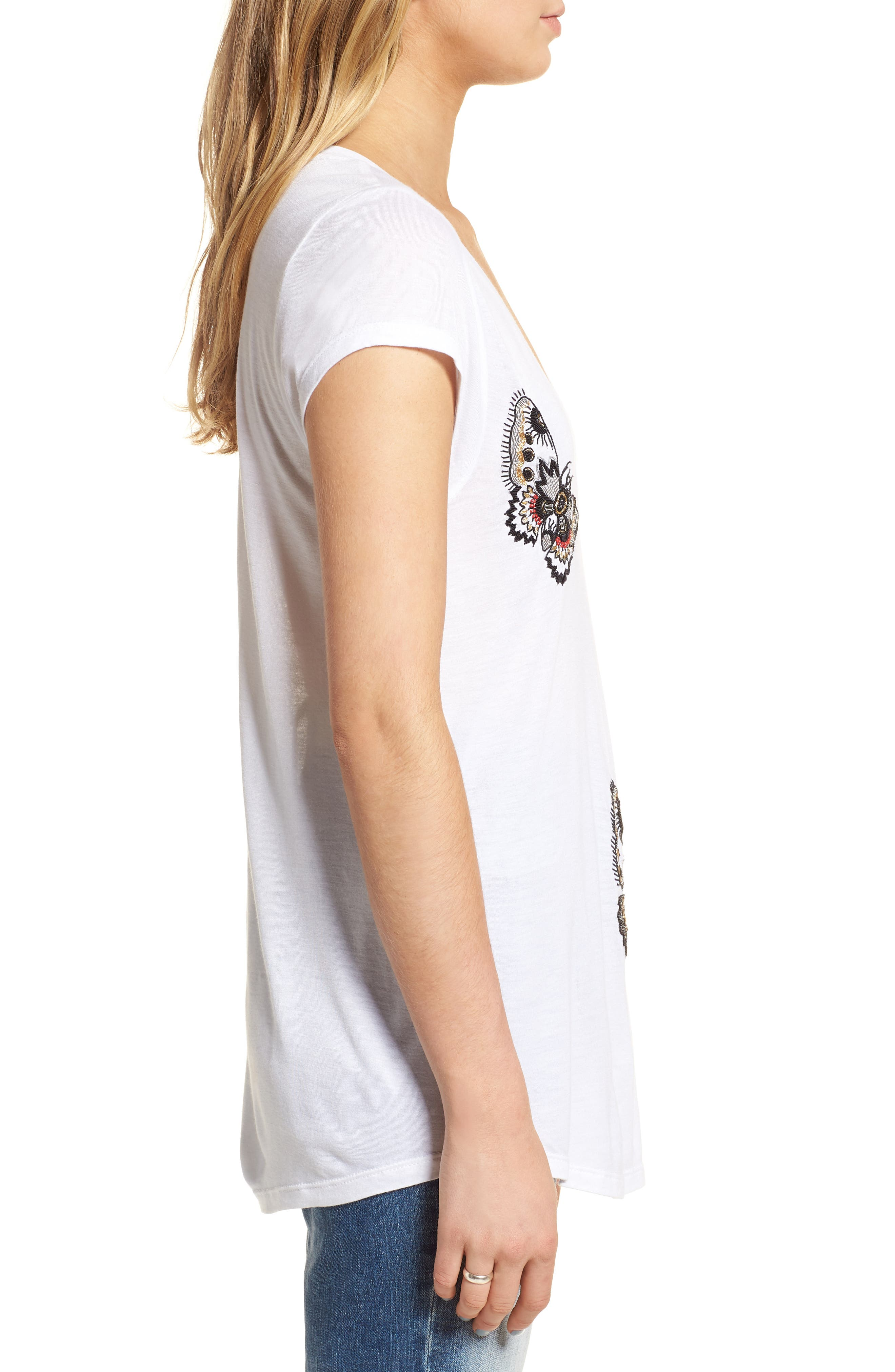 Tiny Cannet Butterfly Tee,                             Alternate thumbnail 3, color,                             Blanc