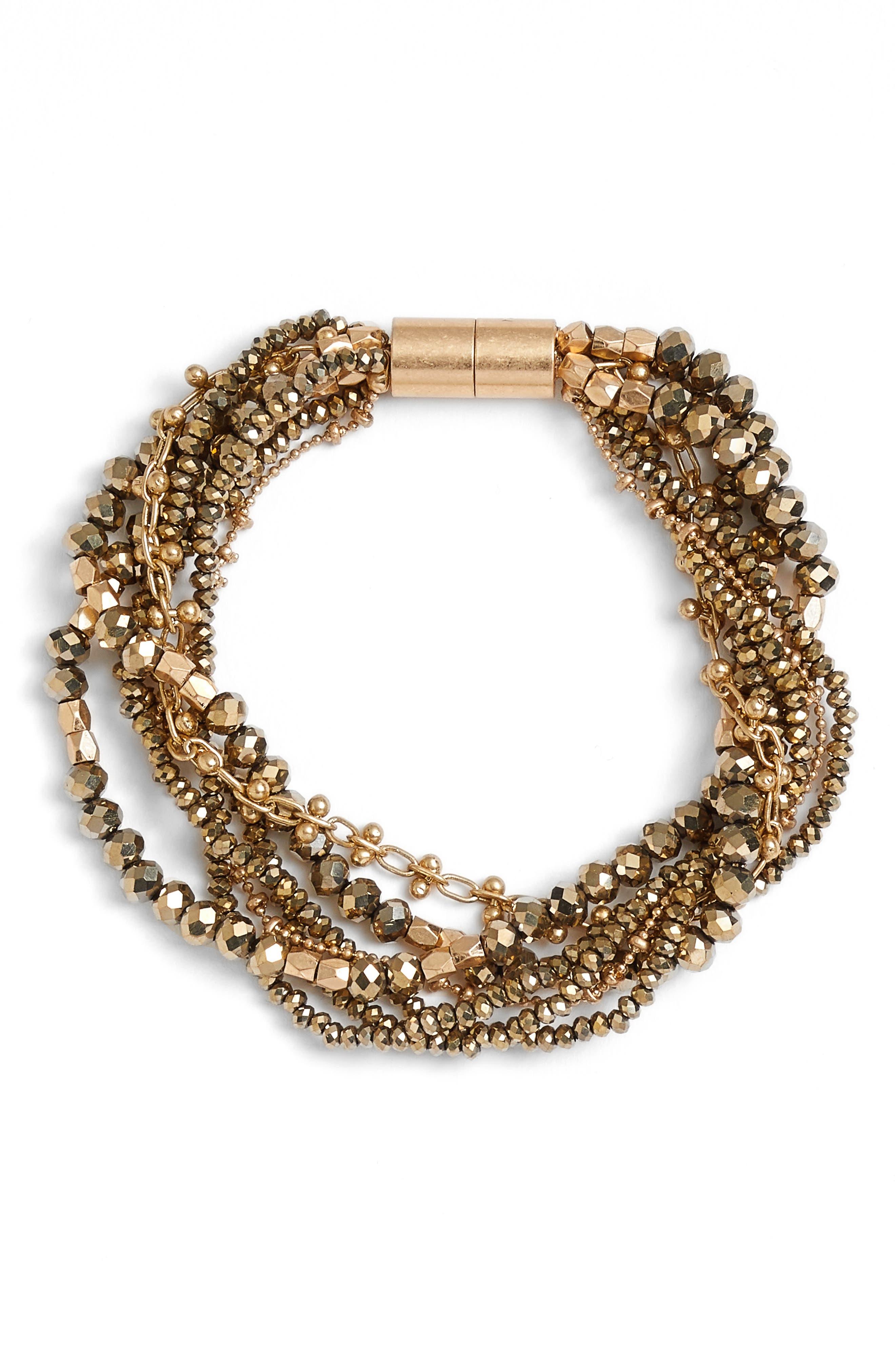 Layered Strand Bracelet,                         Main,                         color, Metallic- Gold