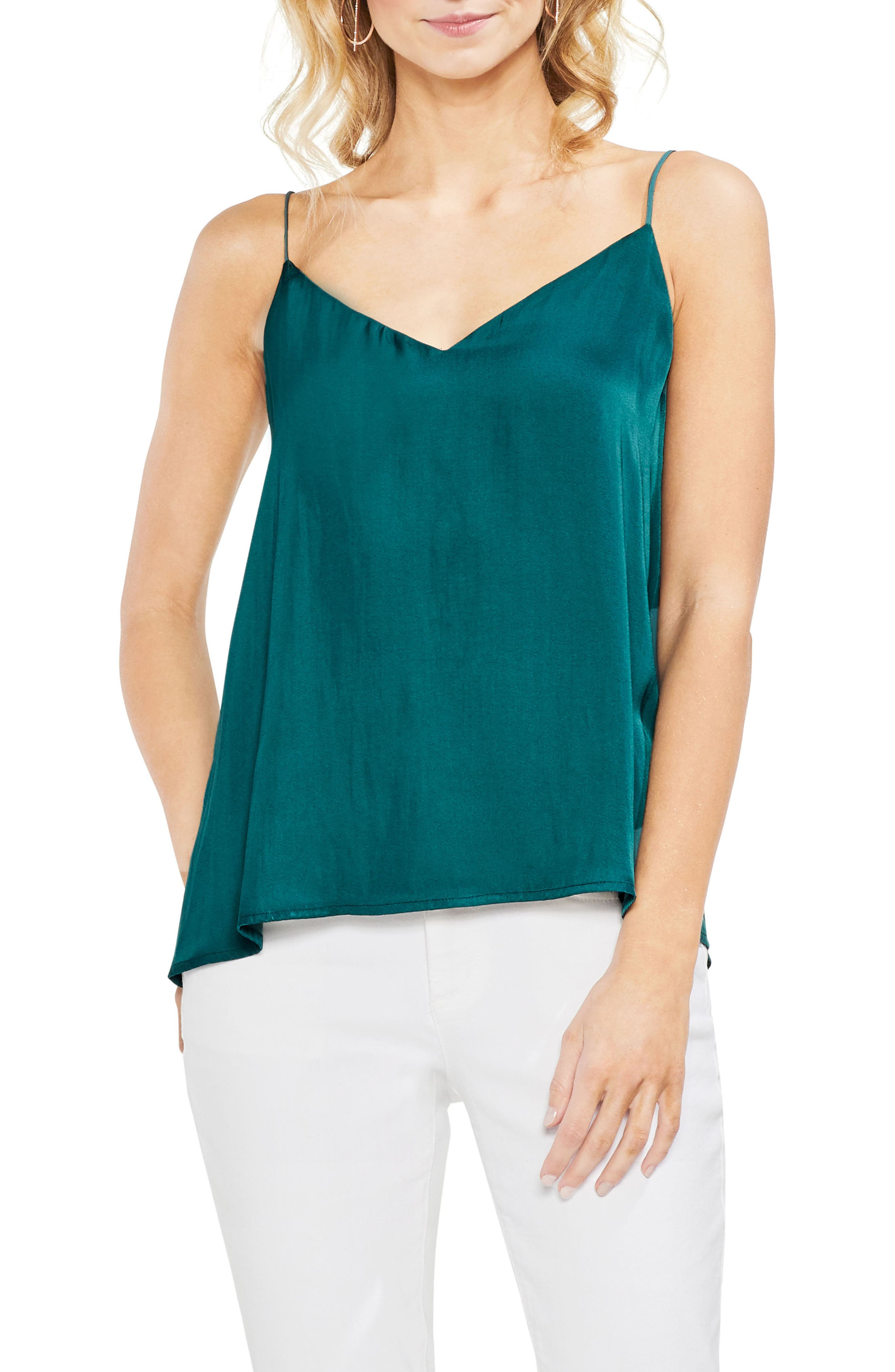 Lace-Up Back Camisole,                             Main thumbnail 1, color,                             Verdant Green