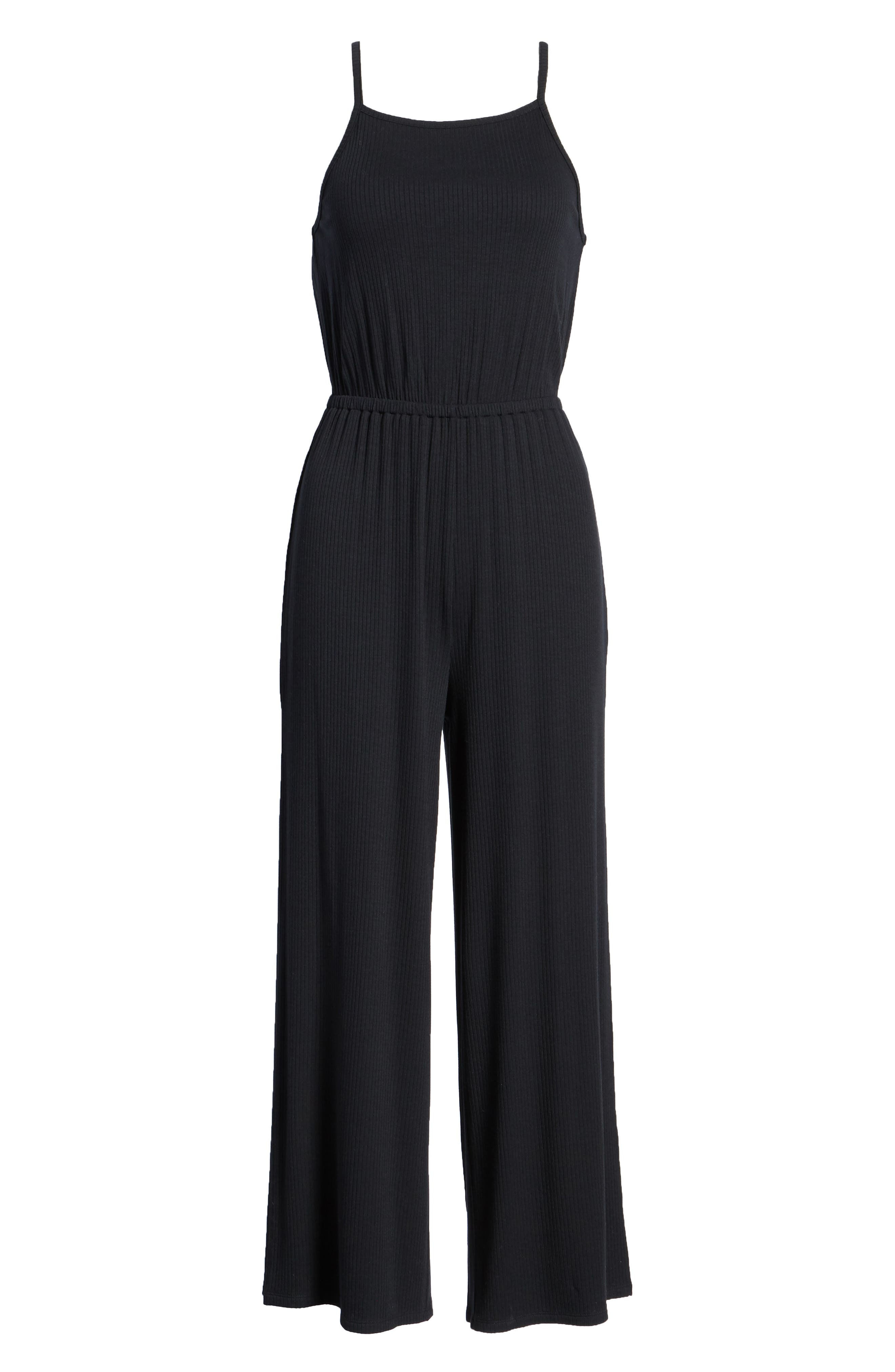 Macall Rib Knit Wide Leg Jumpsuit,                             Alternate thumbnail 7, color,                             Black