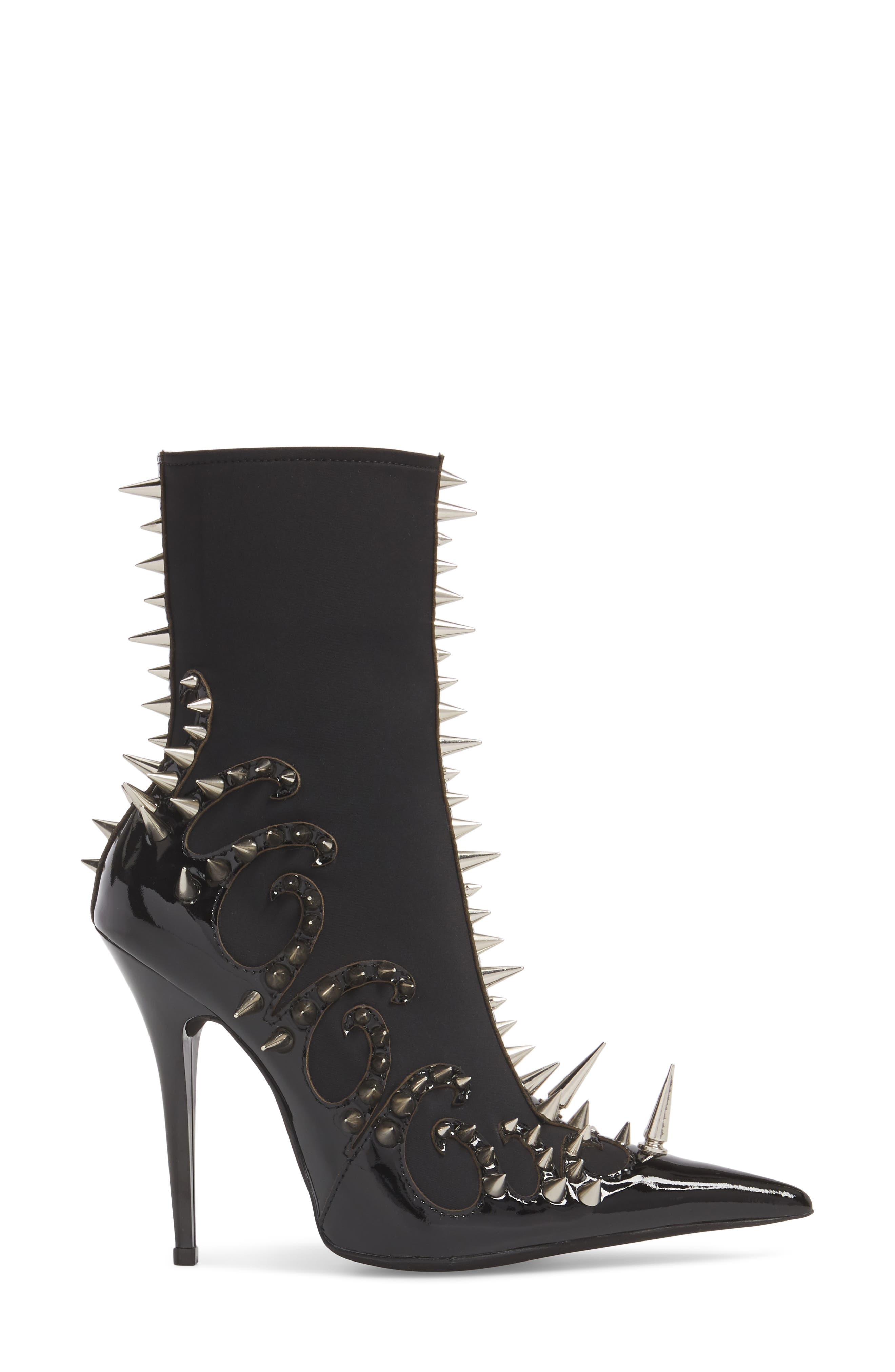 Savage Spike Bootie,                             Alternate thumbnail 3, color,                             Black/ Silver Patent Leather