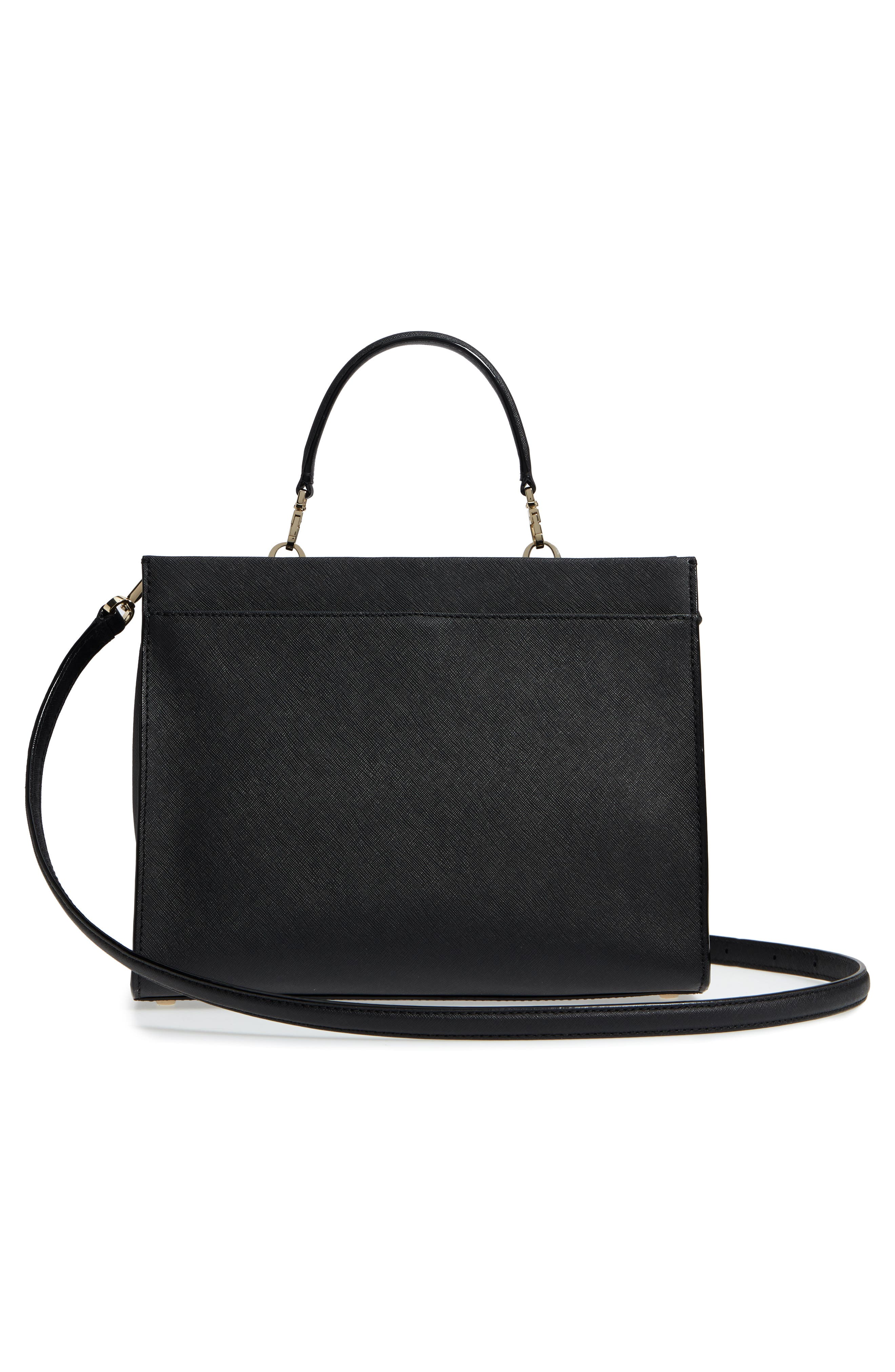 cameron street - sara leather satchel,                             Alternate thumbnail 3, color,                             Black