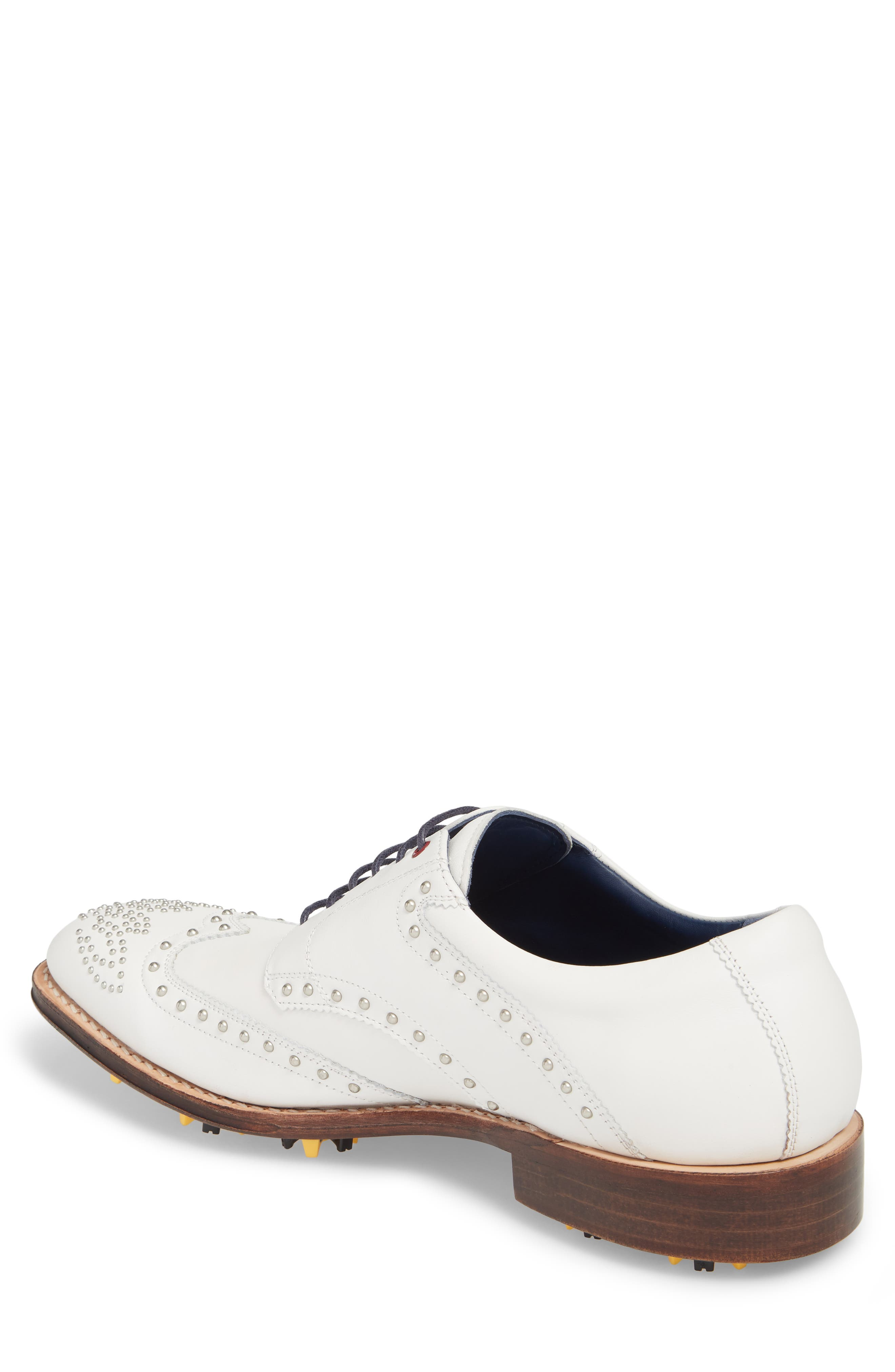 Rocker Plain Toe Oxford with Removable Cleats,                             Alternate thumbnail 2, color,                             White Leather
