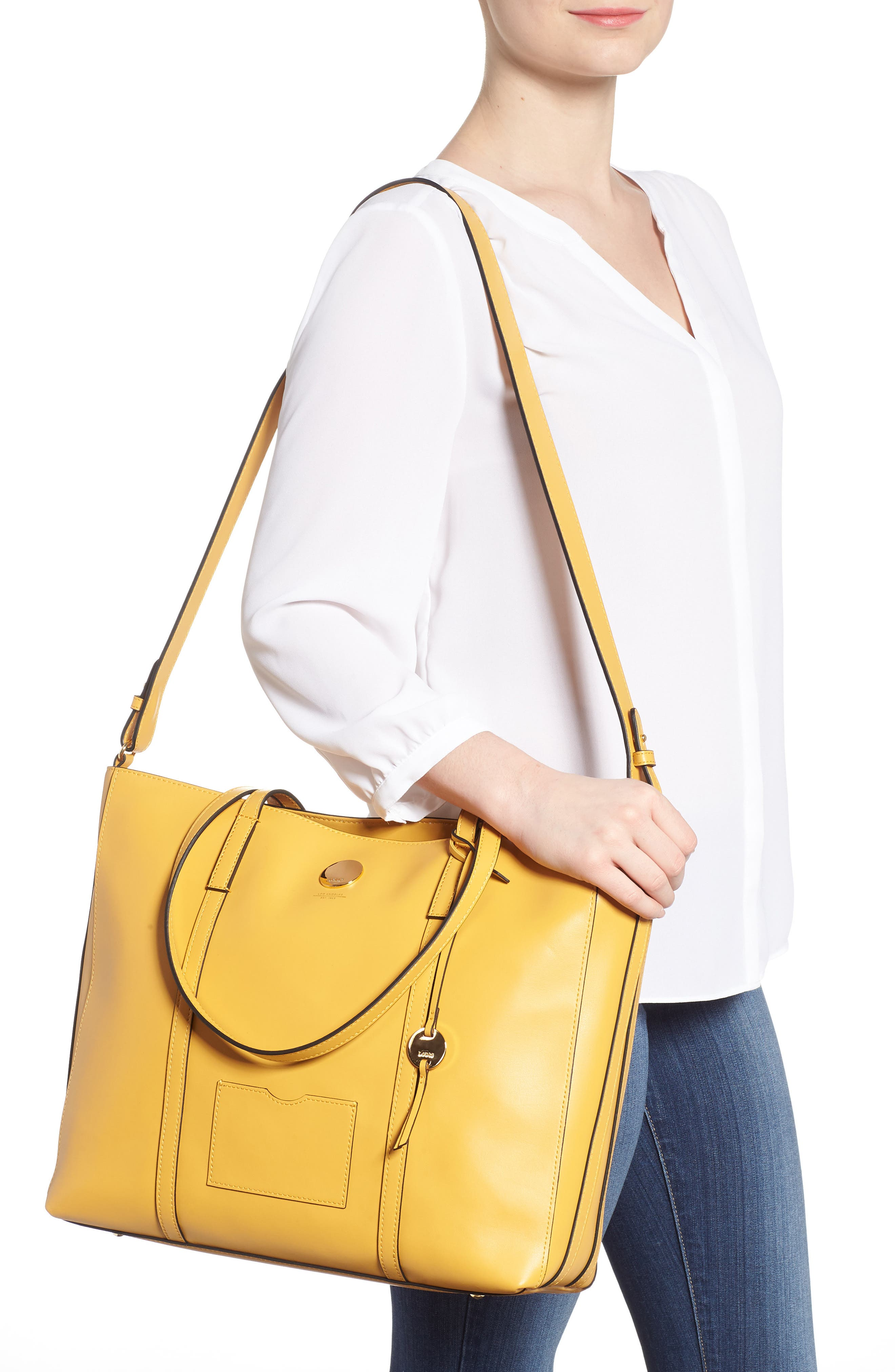 Nelly RFID Medium Leather Tote,                             Alternate thumbnail 2, color,                             Yellow
