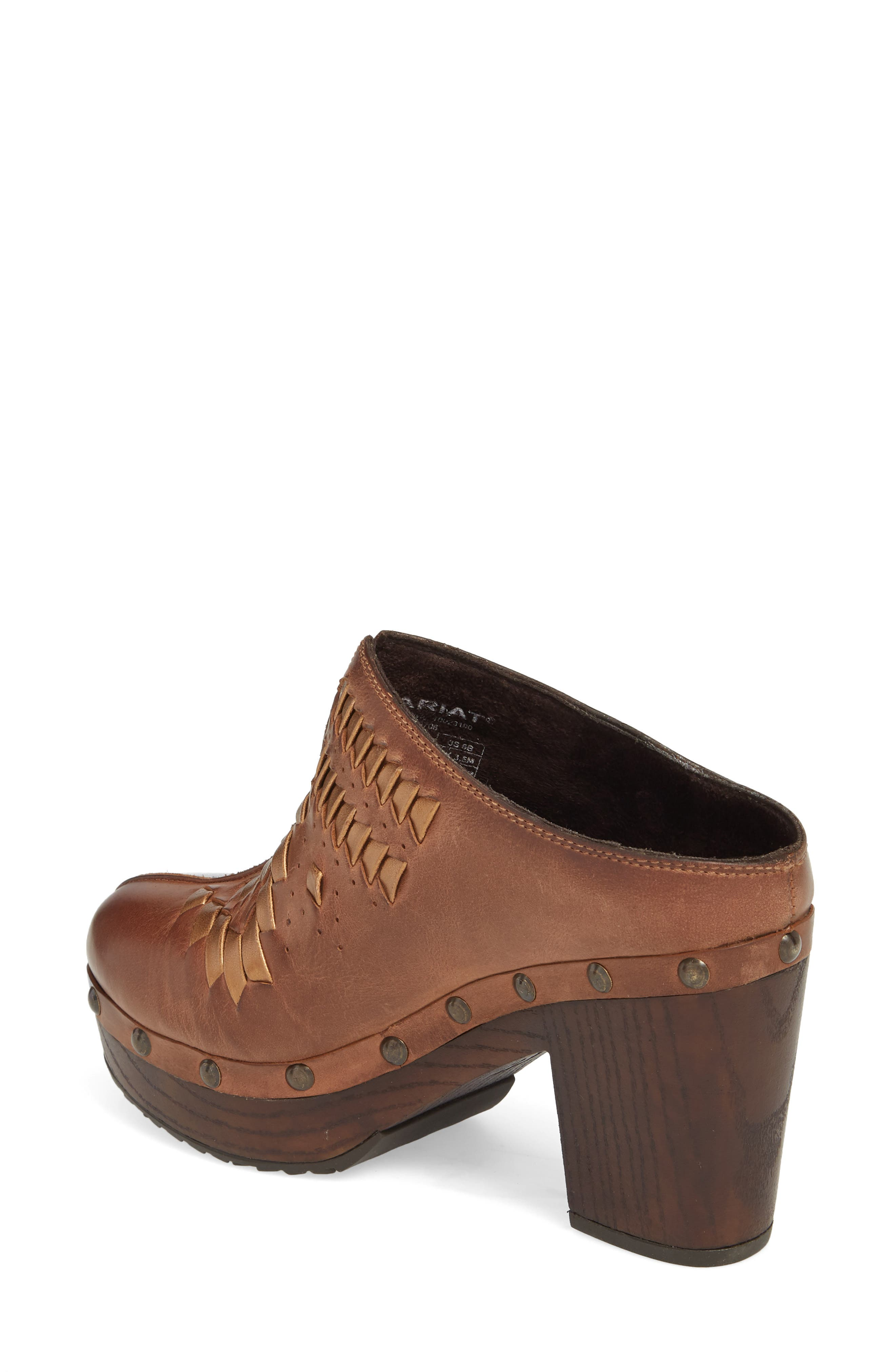 Bria Platform Clog,                             Alternate thumbnail 2, color,                             Bronzed Brown Leather