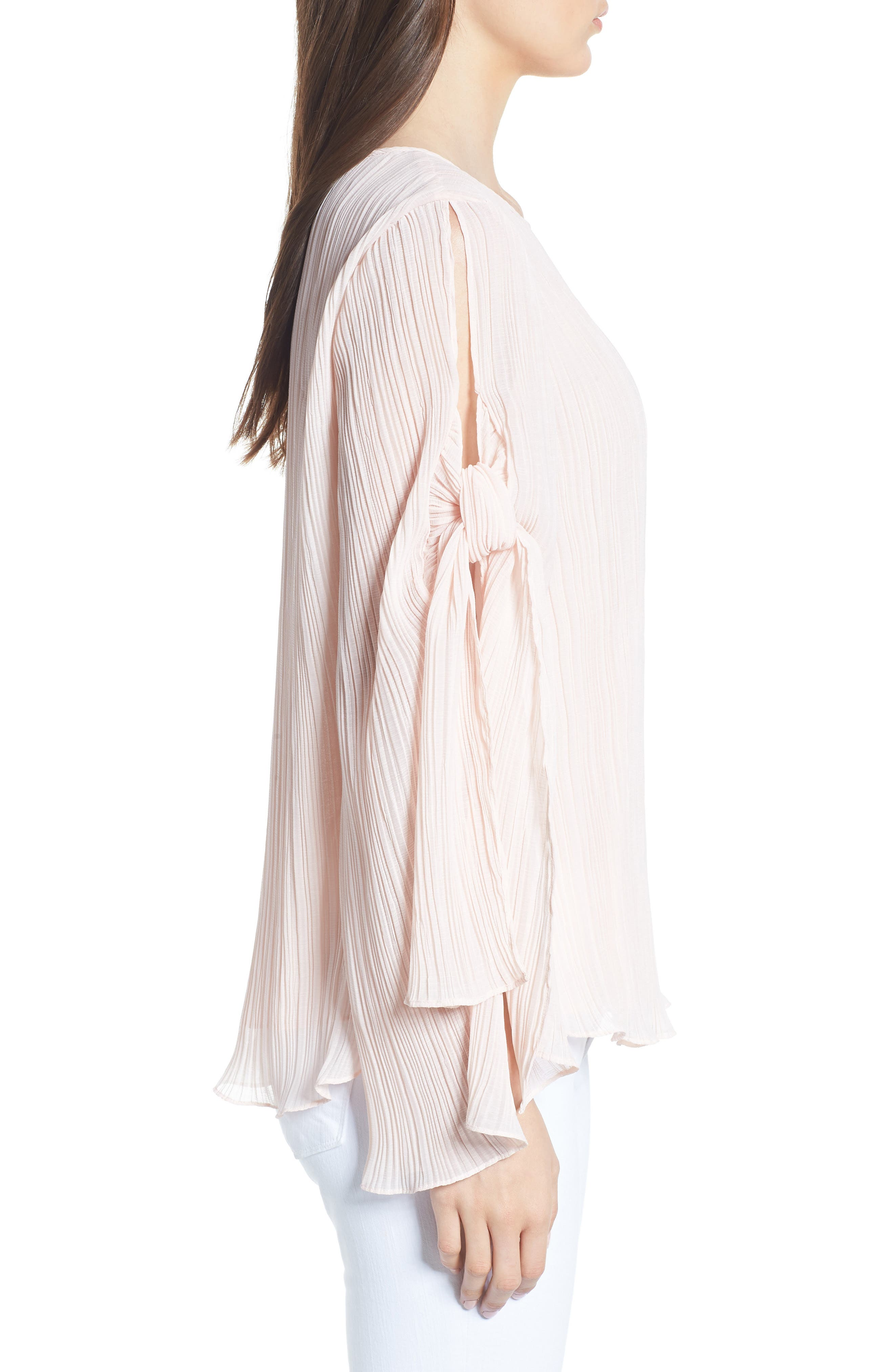 Pleated Tie Sleeve Top,                             Alternate thumbnail 3, color,                             Pink Blush