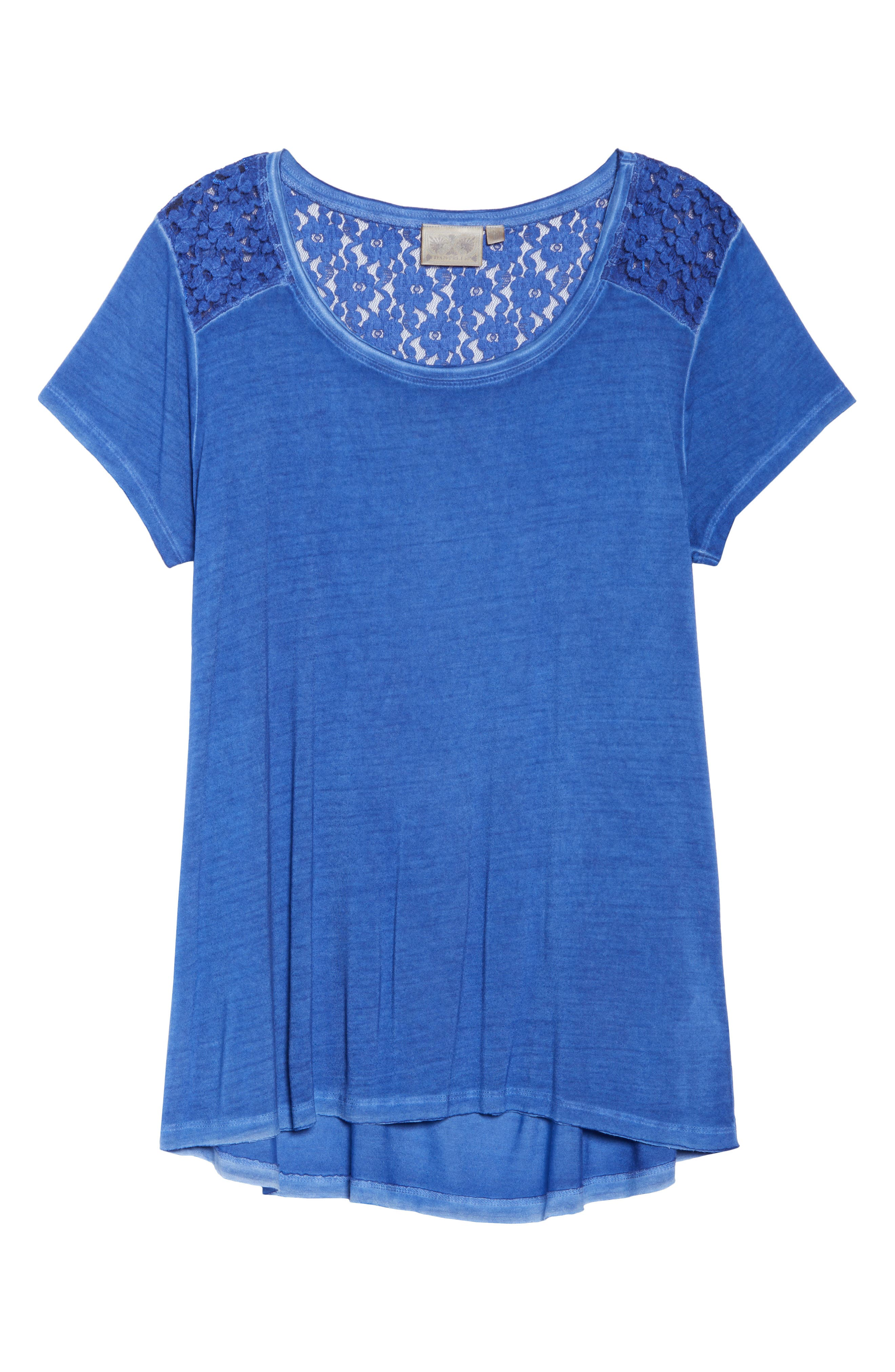 Lace Back Yoke Oil Dye Top,                             Alternate thumbnail 7, color,                             Deep Sea