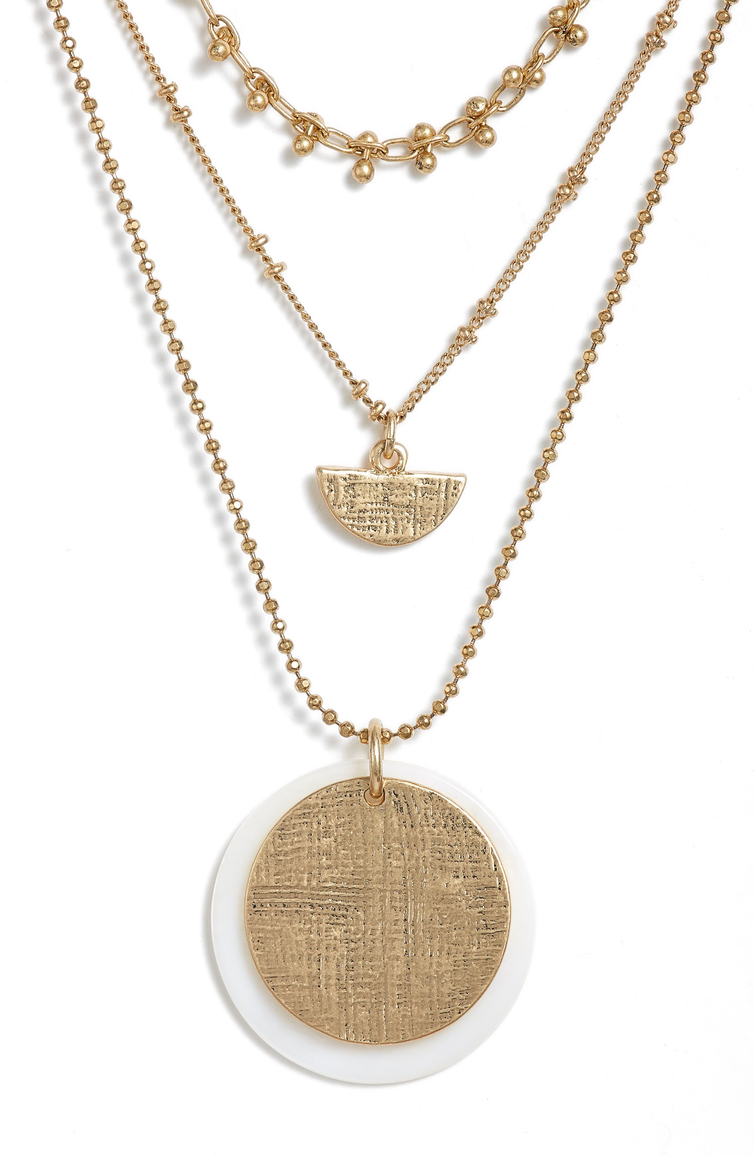 Etched Pendant Layered Necklace,                             Alternate thumbnail 2, color,                             White- Gold