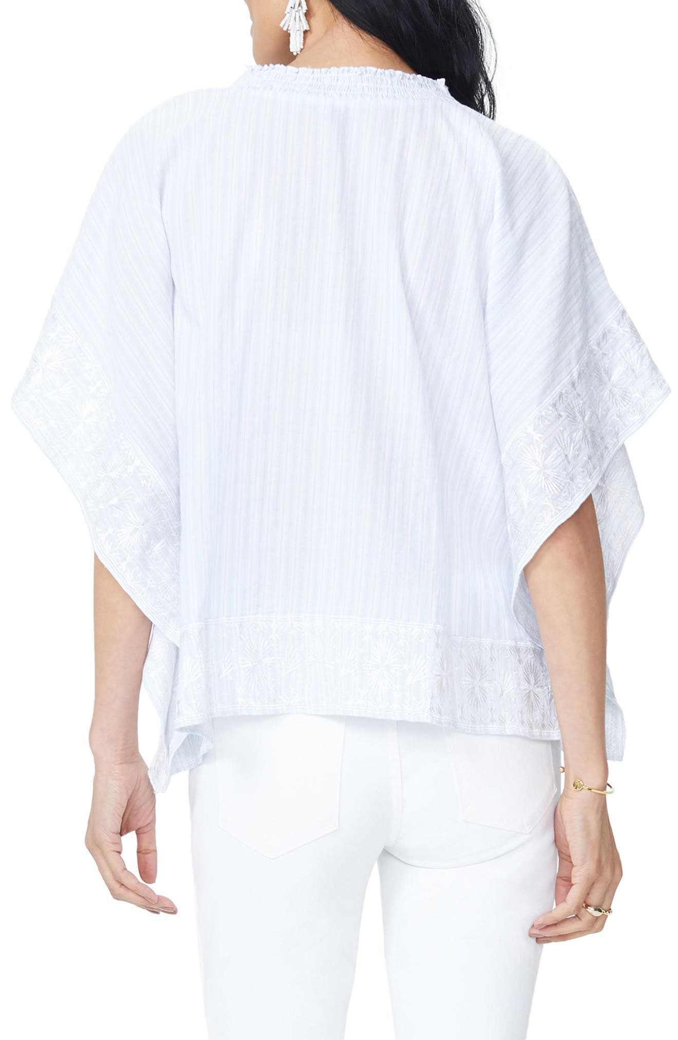 Cascade Embroidery Popover Top,                             Alternate thumbnail 2, color,                             Castaway Stripe Tranquility
