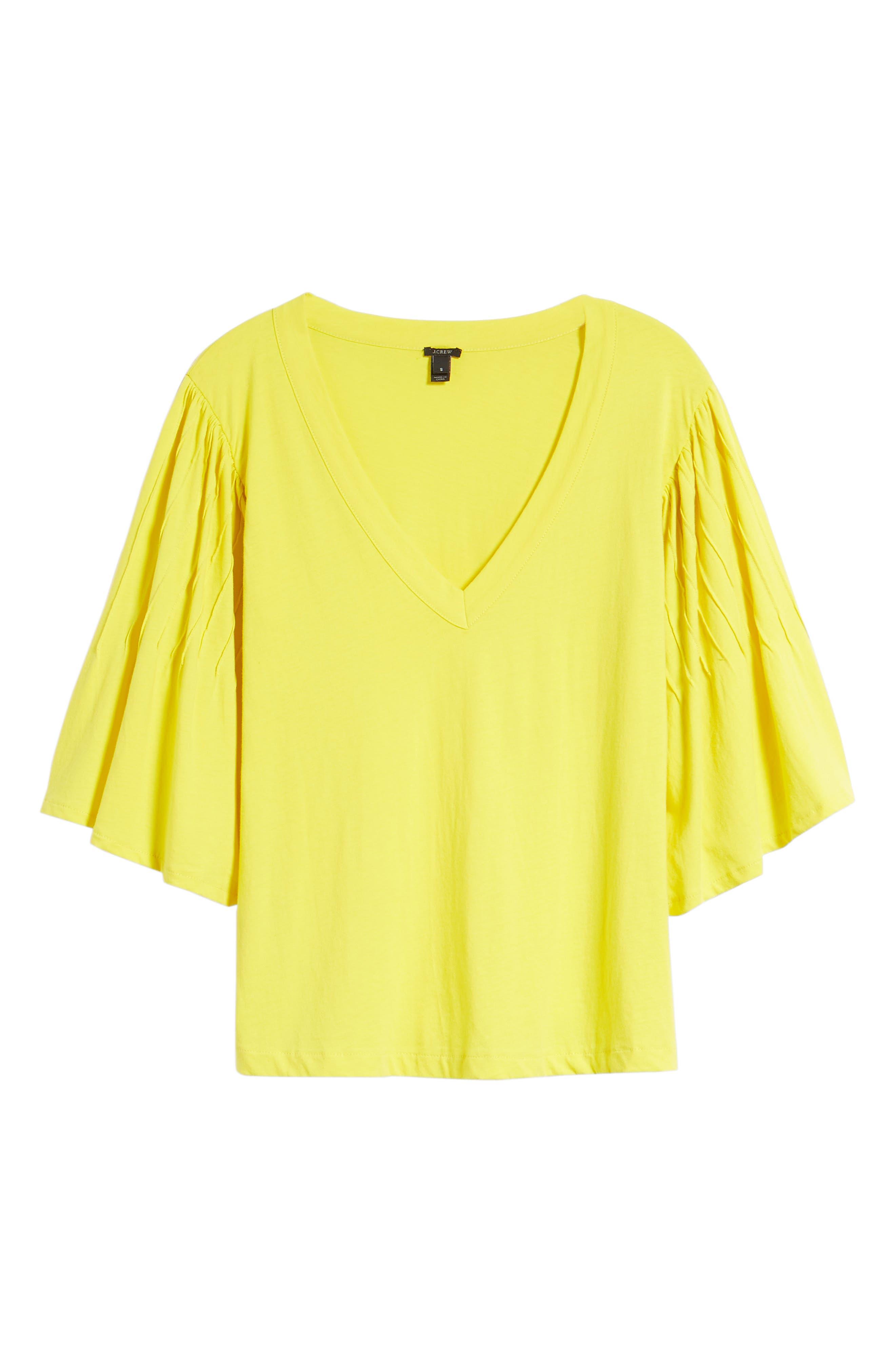 Pintuck Sleeve Cotton Blouse,                             Alternate thumbnail 7, color,                             Vivid Canary