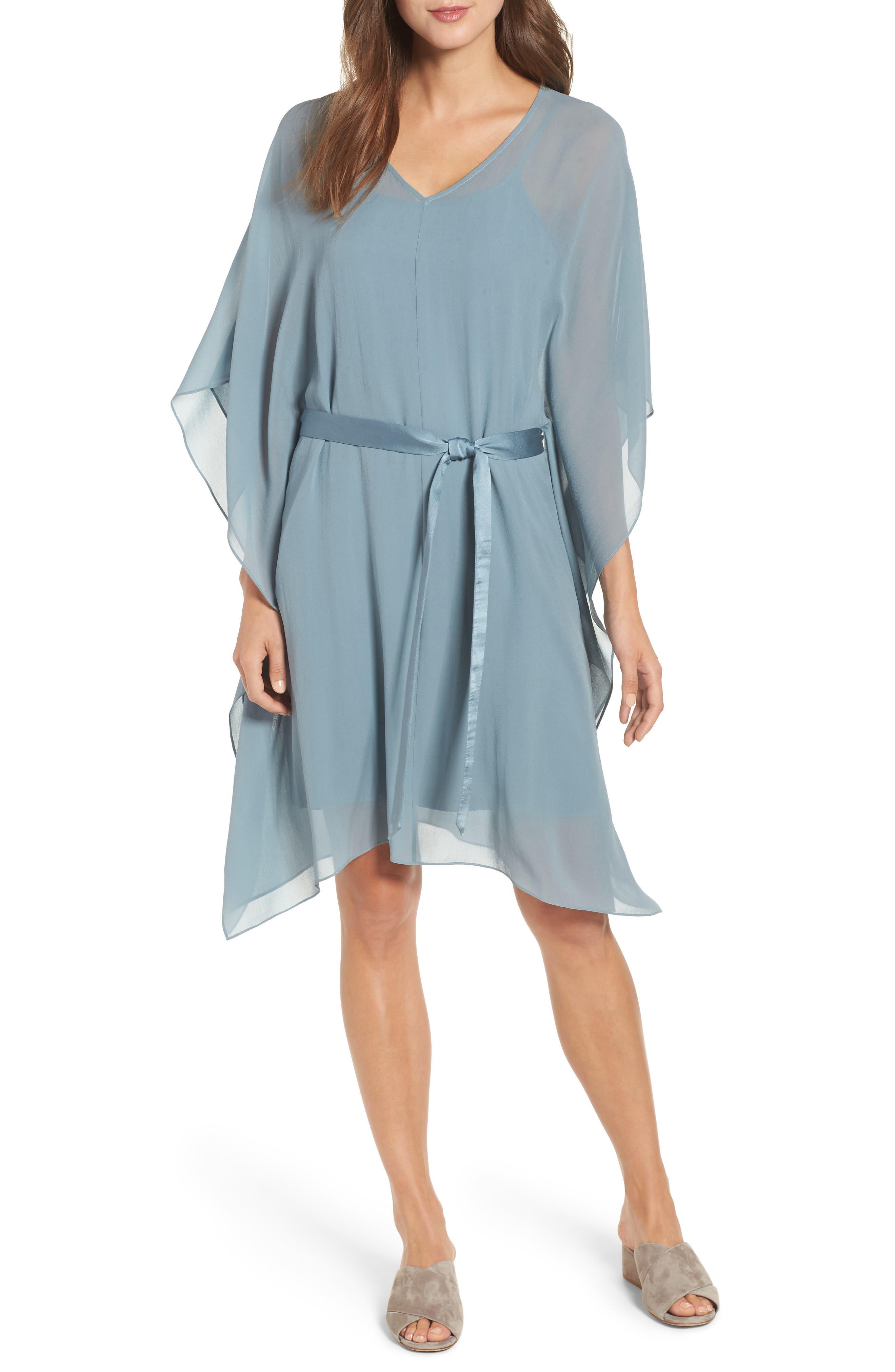 Belted Caftan Dress,                             Main thumbnail 1, color,                             Blue Steel