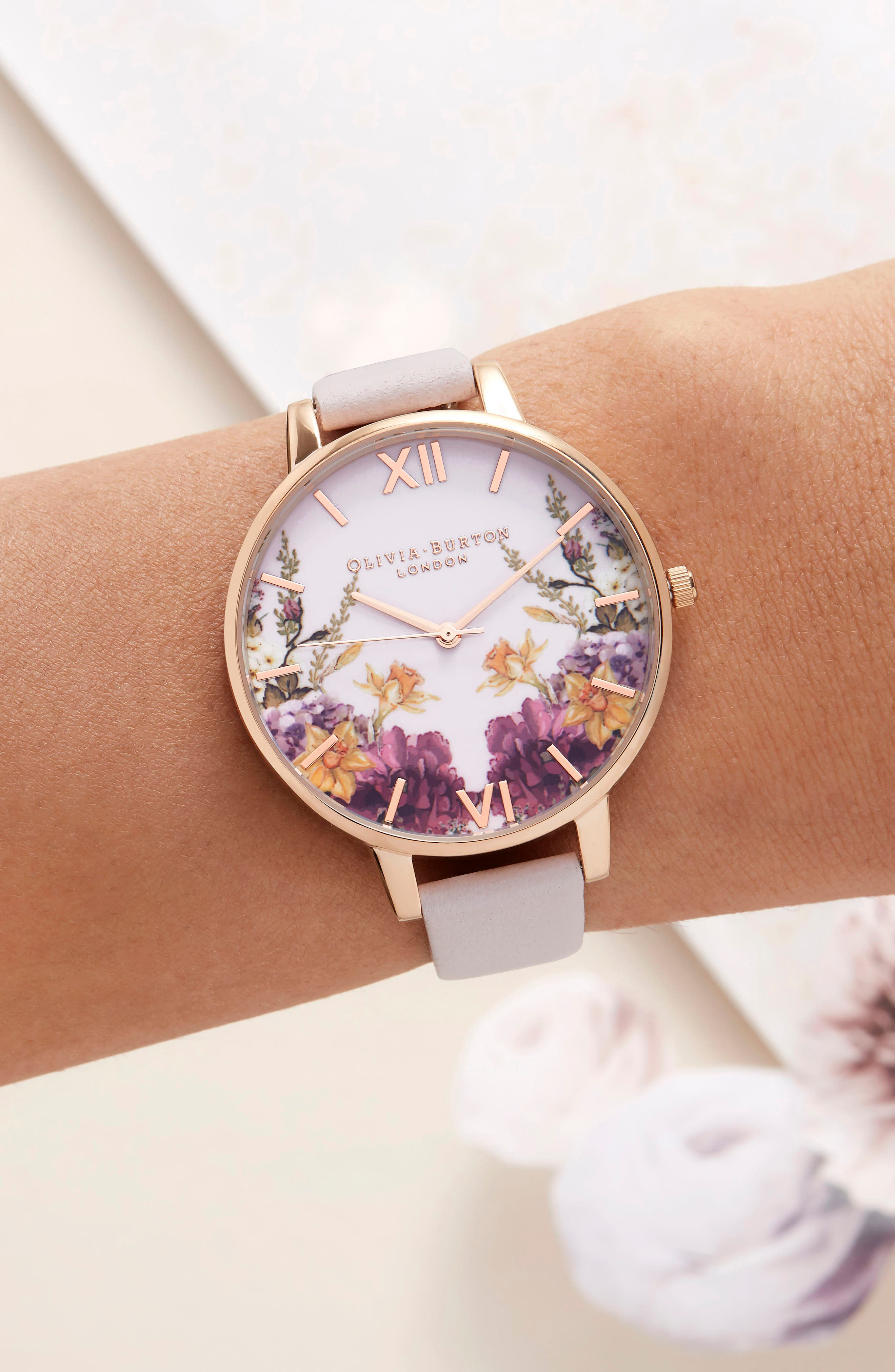 Enchanted Garden Leather Strap Watch, 38mm,                             Alternate thumbnail 2, color,                             Blossom/ Pink/ Rose Gold