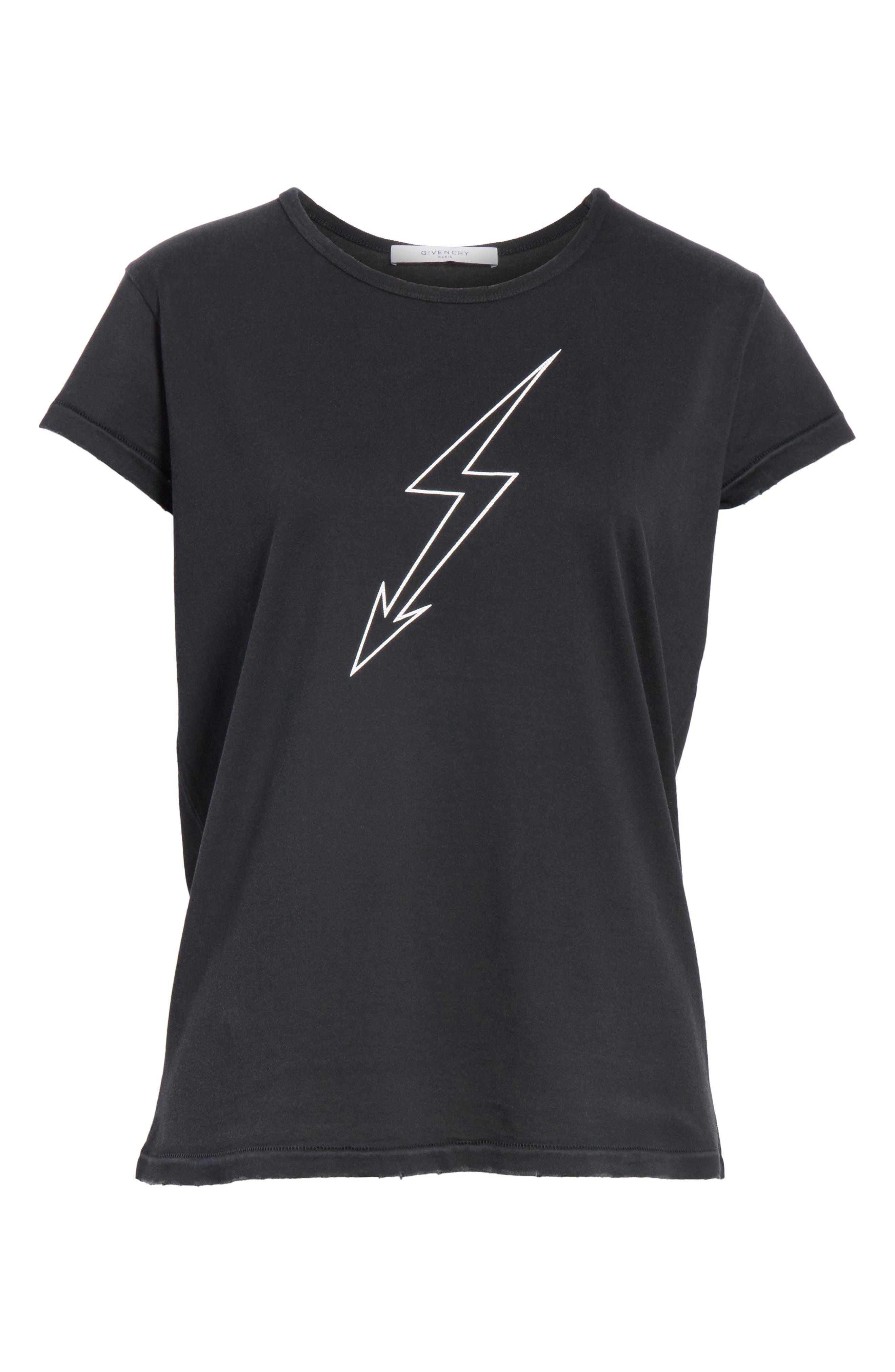 Lightning Bolt Graphic Tee,                             Alternate thumbnail 6, color,                             Black