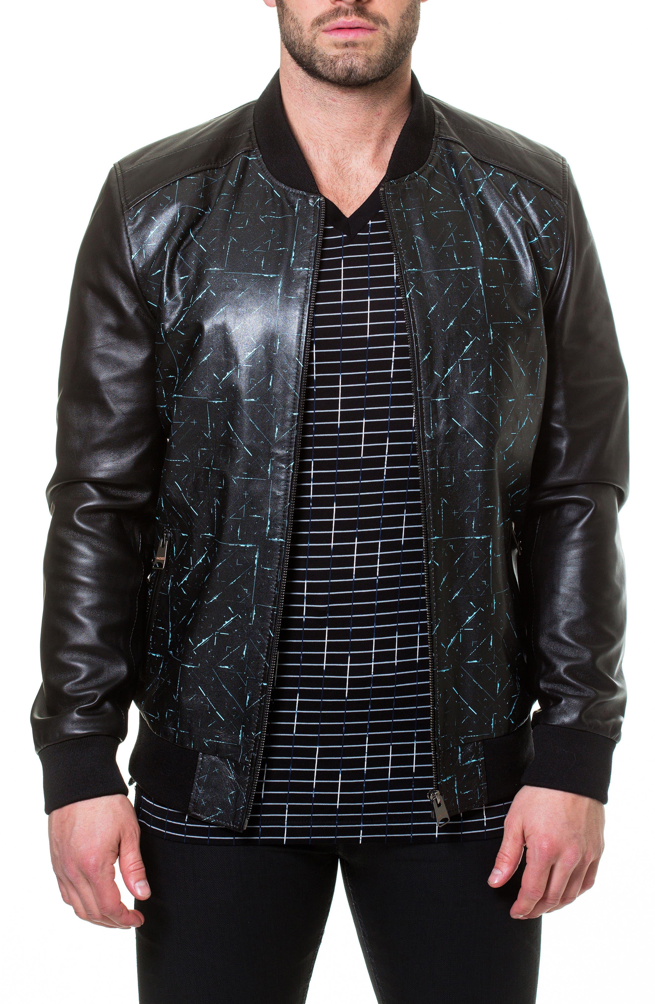 Tron Print Leather Jacket,                             Alternate thumbnail 3, color,                             Black
