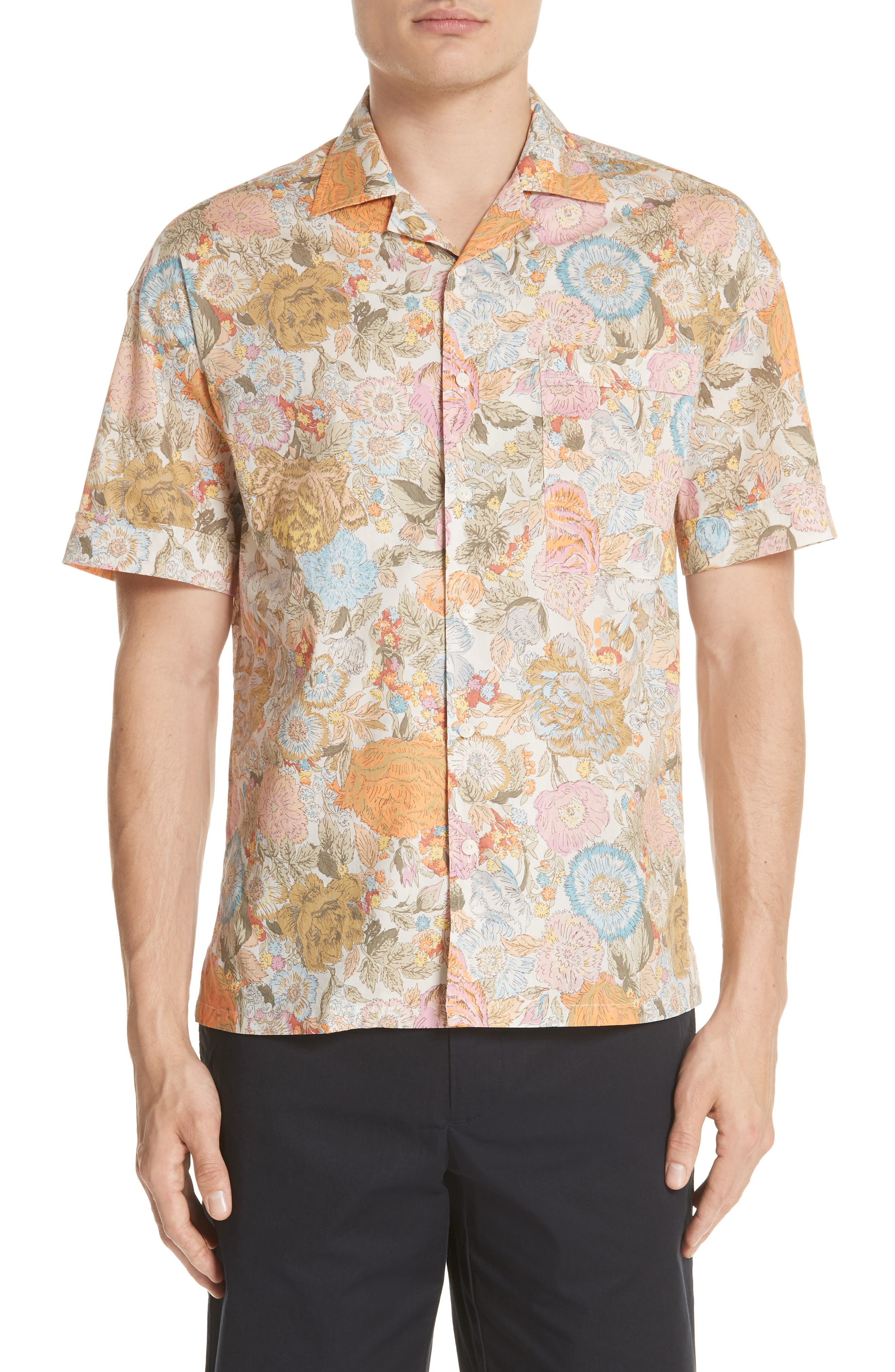 Harley Floral Print Shirt,                             Main thumbnail 1, color,                             Bright Orange
